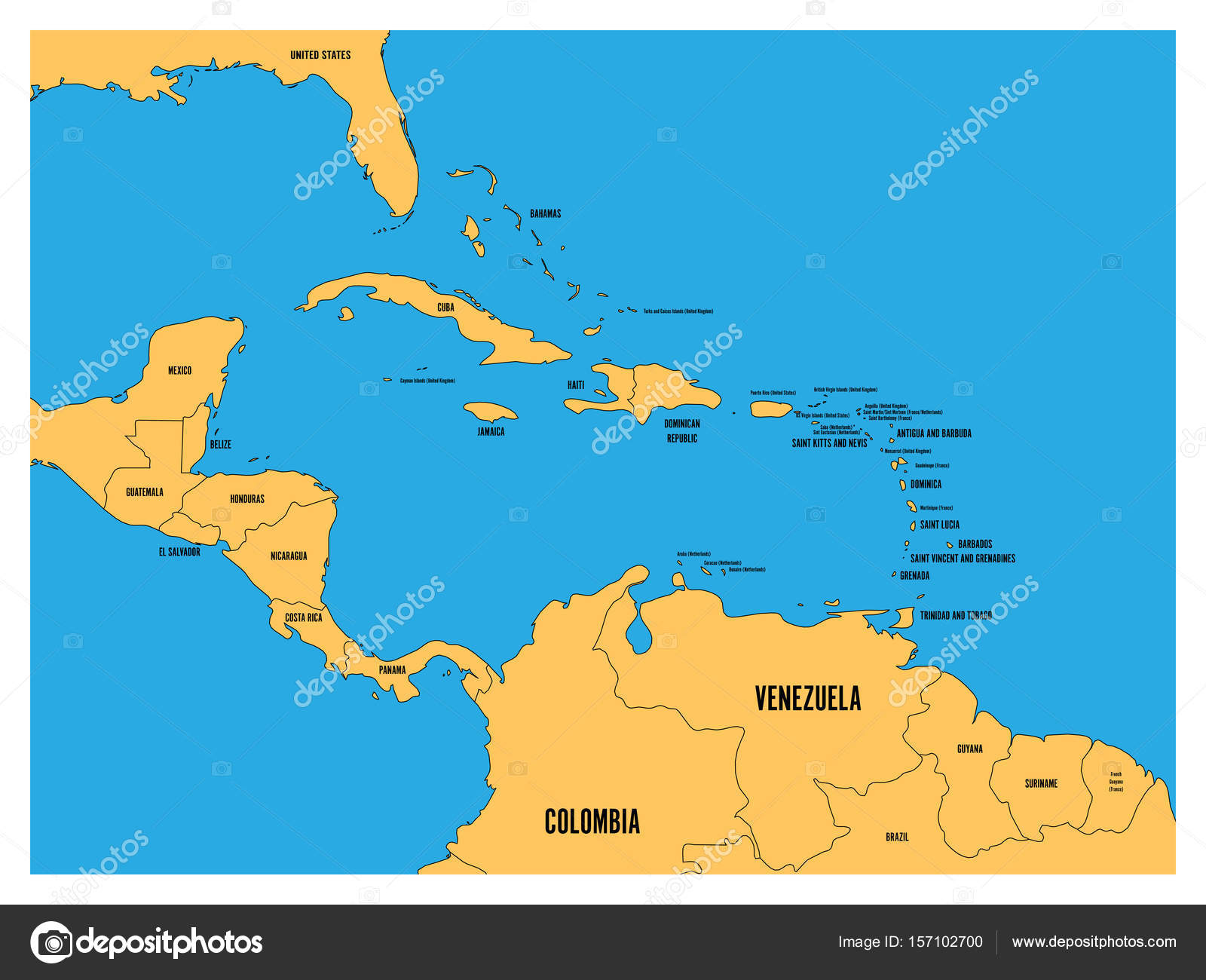 Central america and carribean states political map yellow land with central america and carribean states political map yellow land with black country names labels on blue sea background simple flat vector illustration publicscrutiny Choice Image