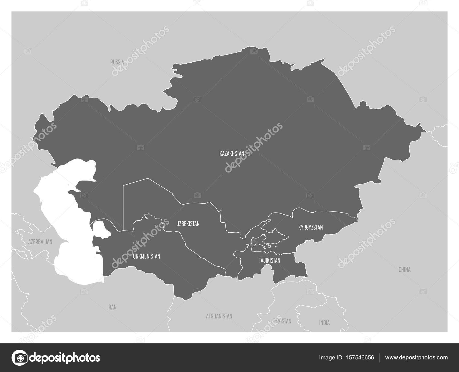 Map Of Central Asia Region With Highlighted Kazakhstan Kyrgyzstan - Tajikistan map vector