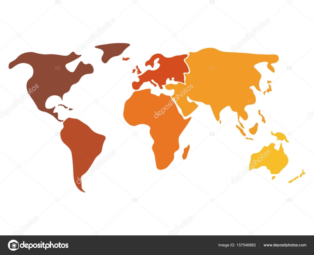 Multicolored world map divided to six continents in different ...