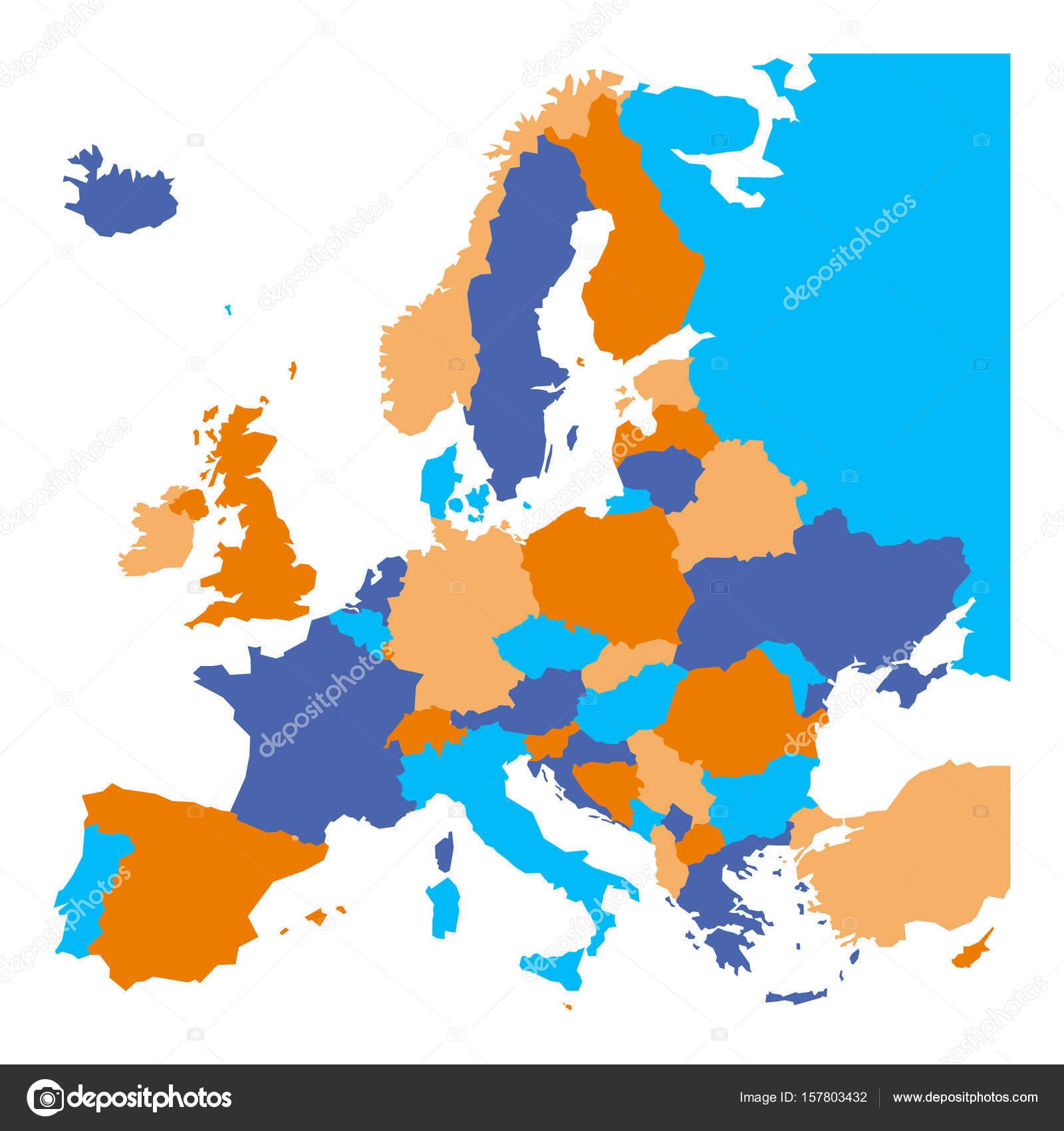 Politická Mapa Evropy. Evropské Ministates Zahrnuty