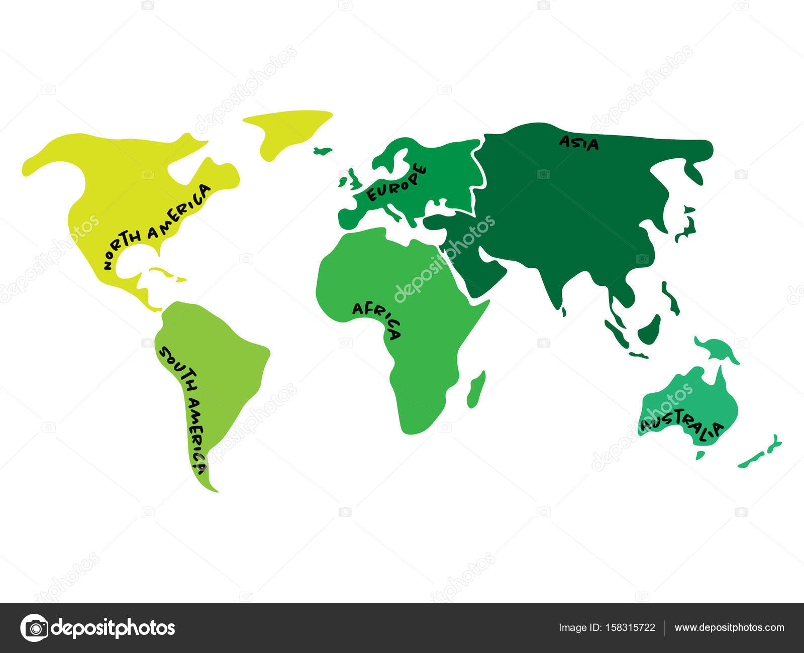 Multicolored world map divided to six continents in different colors multicolored world map divided to six continents in different colors north america south america africa europe asia and australia oceania gumiabroncs Image collections