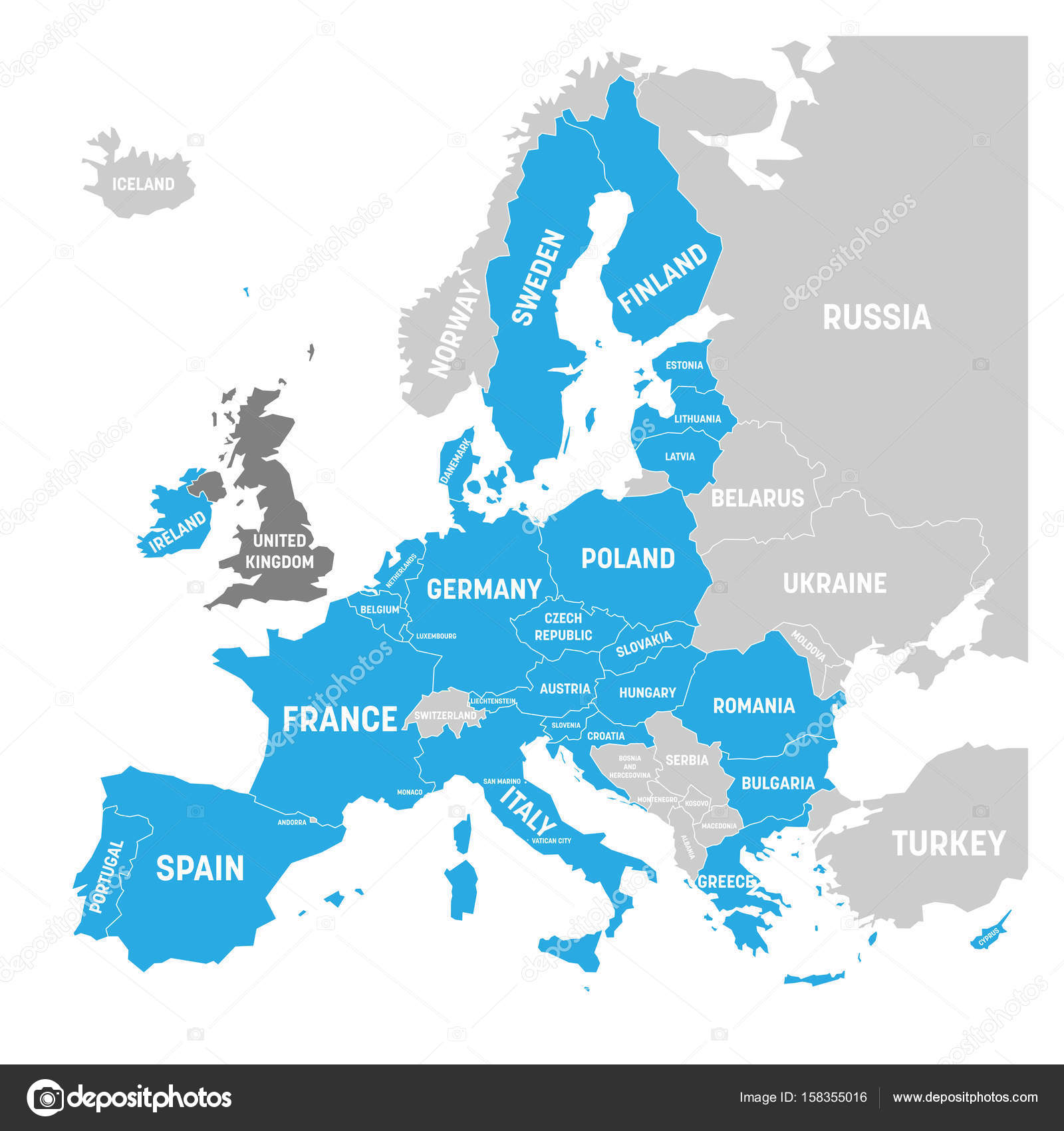 Map of europe with blue highlighted eu member states and united map of europe with blue highlighted eu member states and united kingdom in different color gumiabroncs Images
