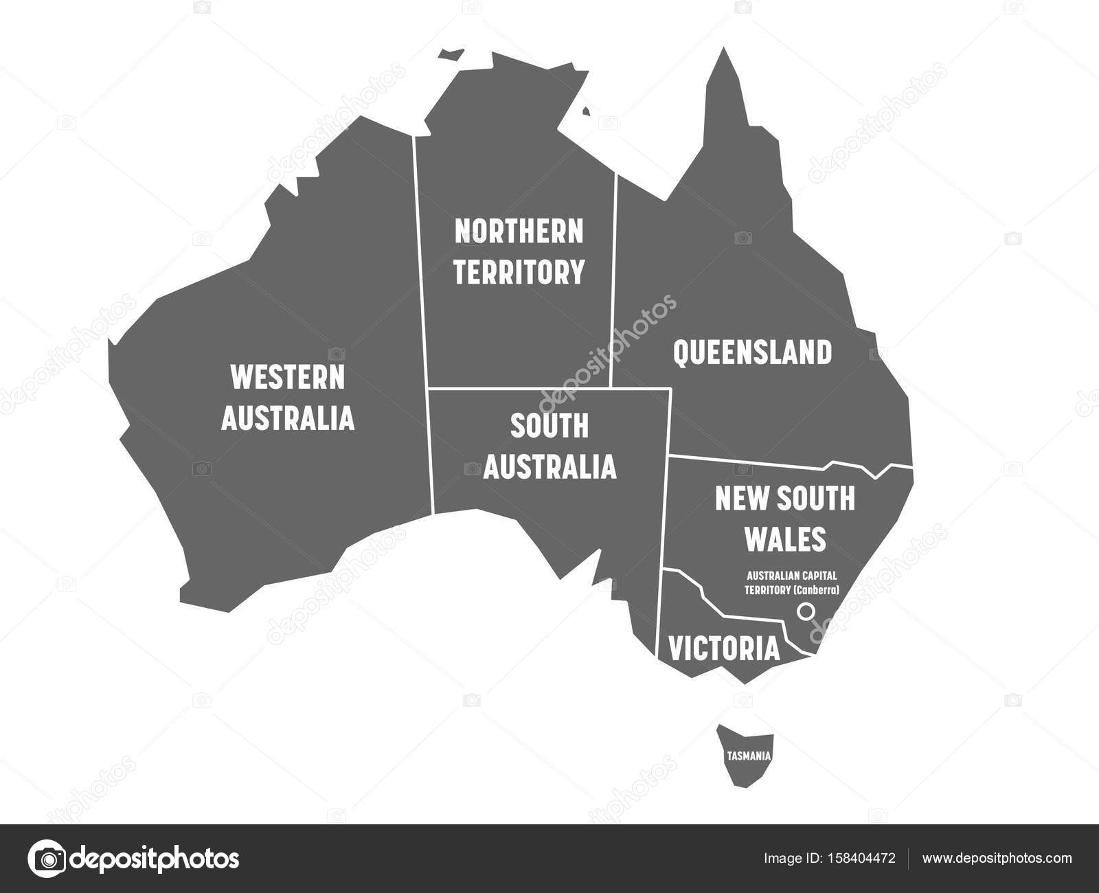 Australia Map And States.Simplified Map Of Australia Divided Into States And Territories