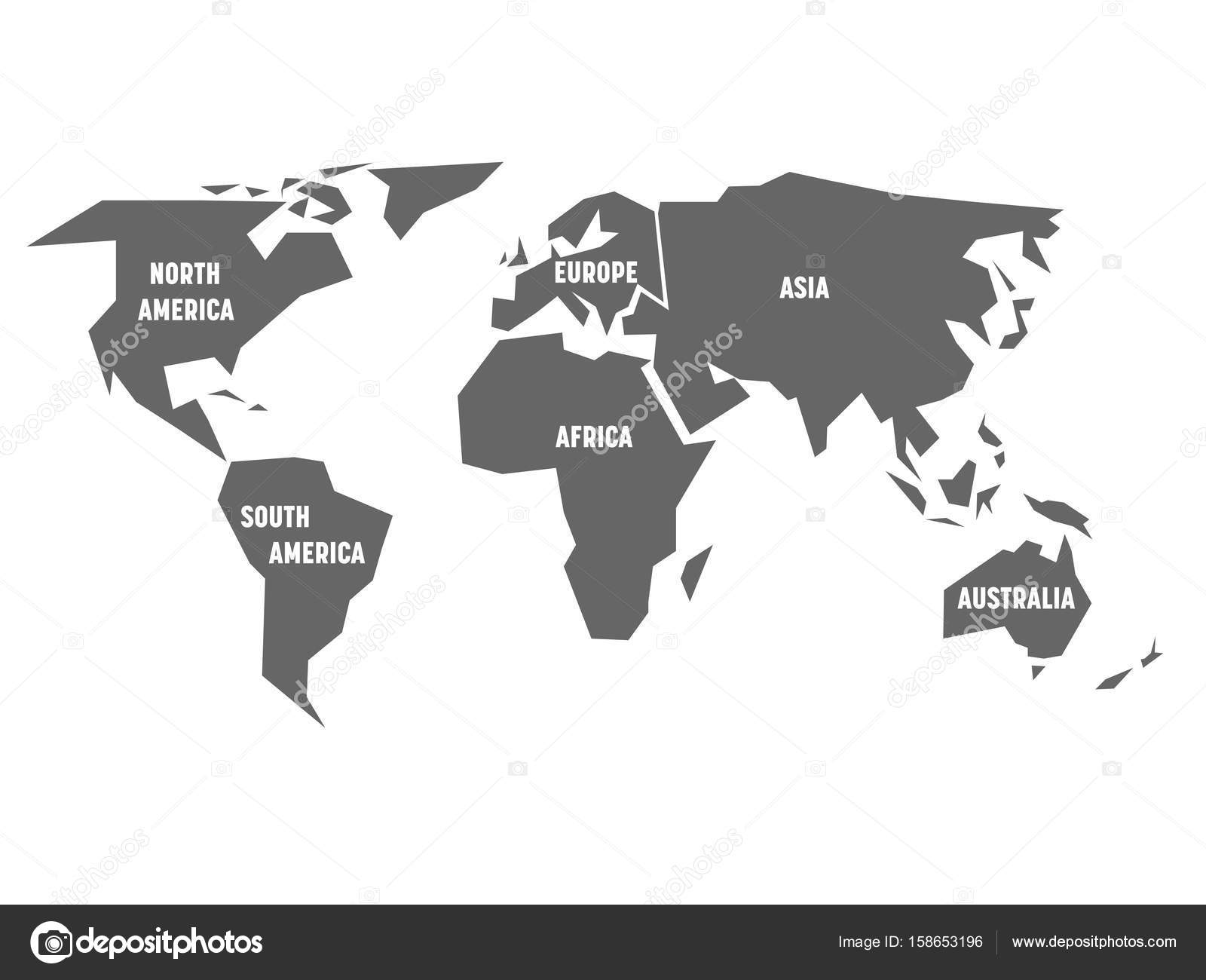 Simplified grey silhouette of world map divided to six continents simplified grey silhouette of world map divided to six continents simple flat vector illustration on white background vector by pyty gumiabroncs Choice Image