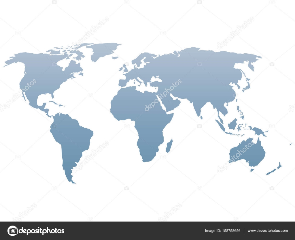 World Map Silhouette Vector Blue Gradient Isolated On White