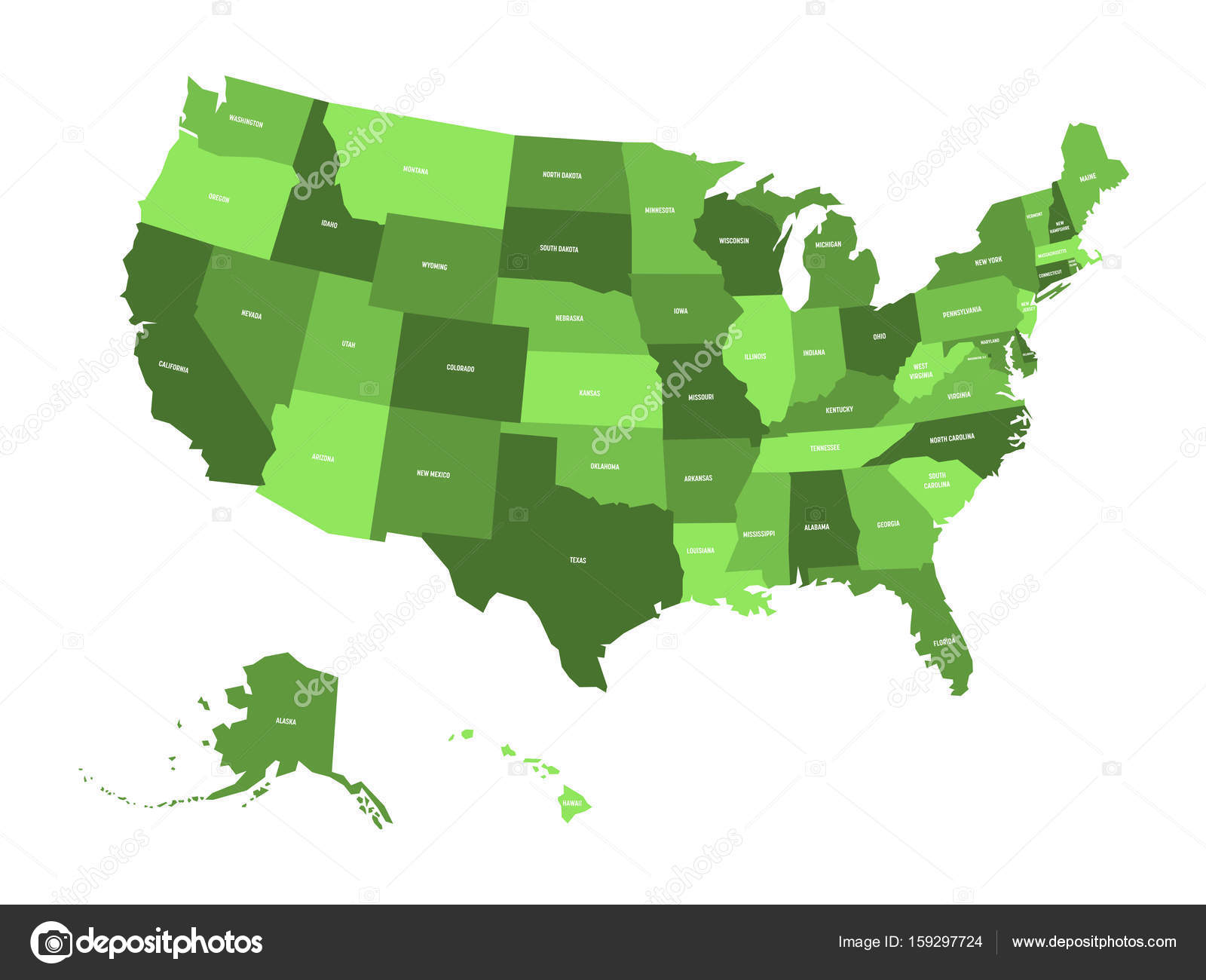 Map of United States of America, USA, in four shades of green with ...