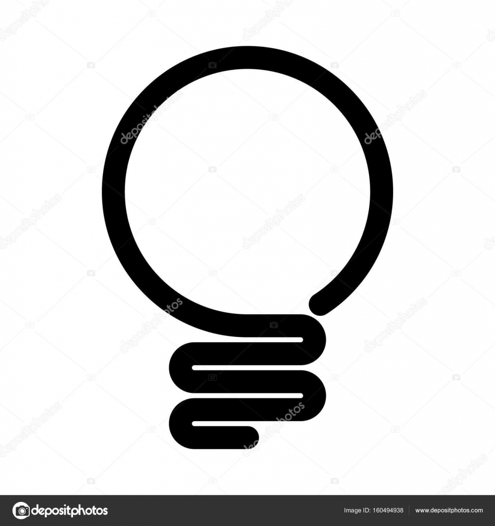 Light bulb icon. Simple black line symbol isolated on white ...