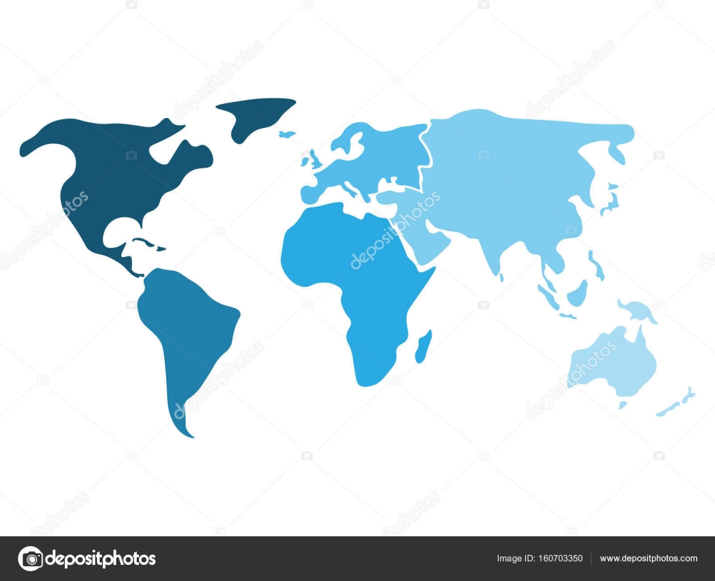 Multicolored world map divided to six continents in different multicolored world map divided to six continents in different shaders of blue north america south america africa europe asia and australia oceania gumiabroncs Image collections