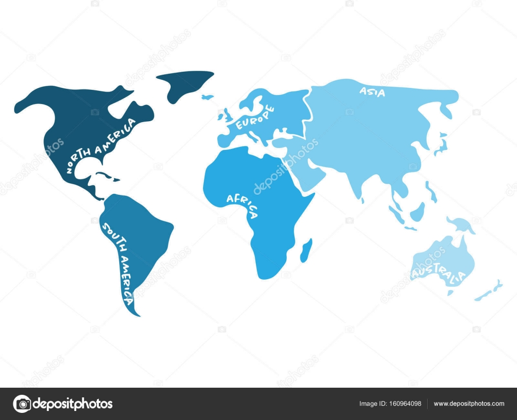 Multicolored world map divided to six continents in s north multicolored world map divided to six continents in s north america south america gumiabroncs Choice Image