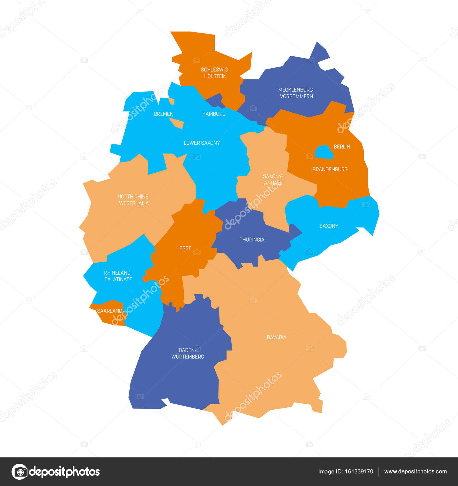 Simple Map Of Germany.Map Of Germany Devided To 13 Federal States And 3 City States