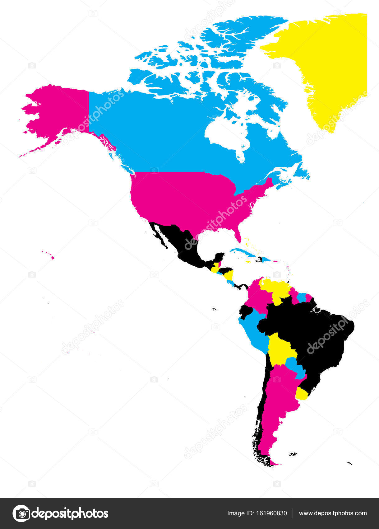 Political map of Americas in CMYK colors on white background. North ...