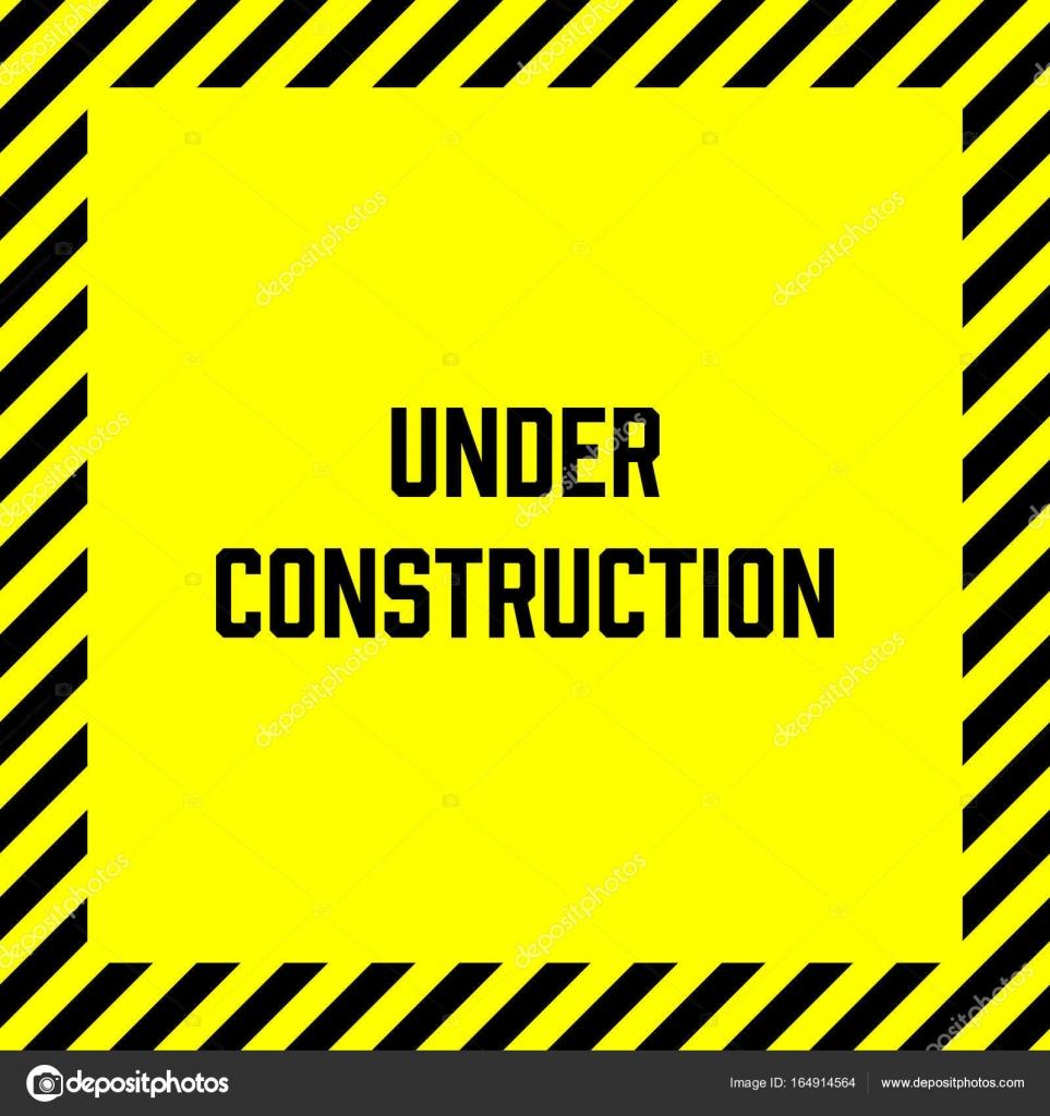Unter Aufbau Aufkleber mit gelb-schwarz gestreiften Rahmen ...