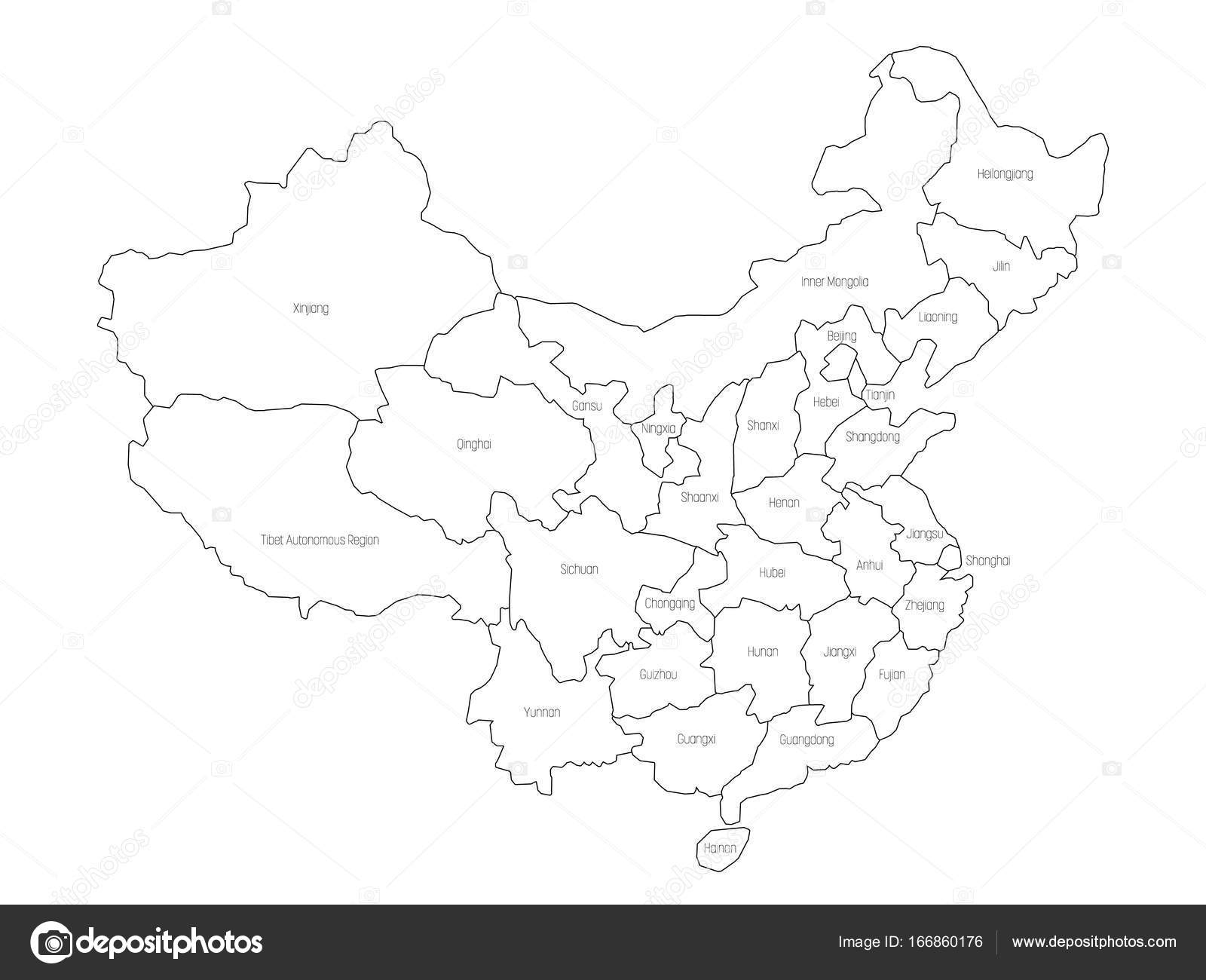 Regional map of administrative provinces of China Thin black