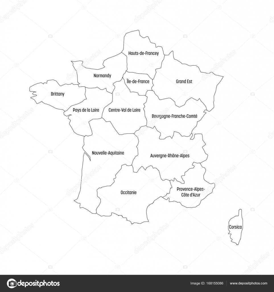 Cartina Muta Della Francia è Divisa In 13 Regioni Metropolitane Dal
