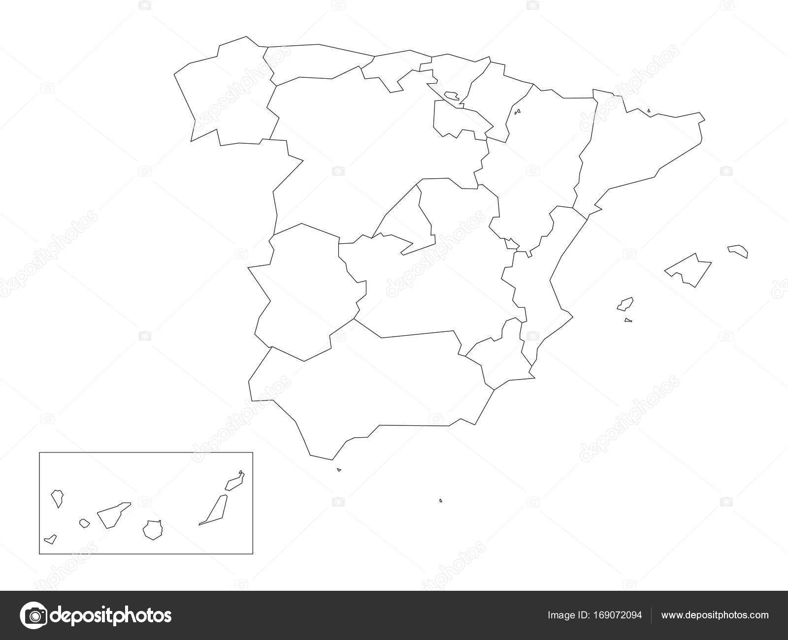 Mapa De Comunidades Autonomas En Blanco.Mapa De Espana Dividido En 17 Comunidades Autonomas