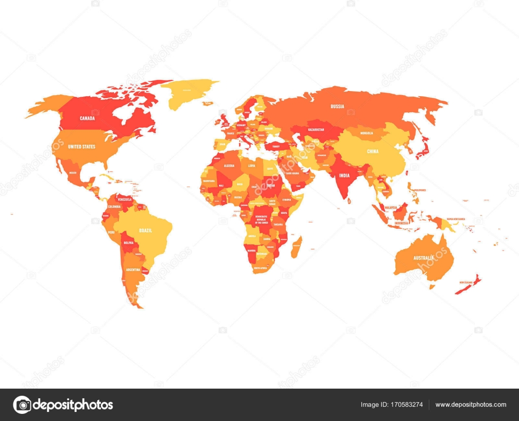 Political map of world in four shades of orange with country name political map of world in four shades of orange with country name labels isolated on gumiabroncs Choice Image