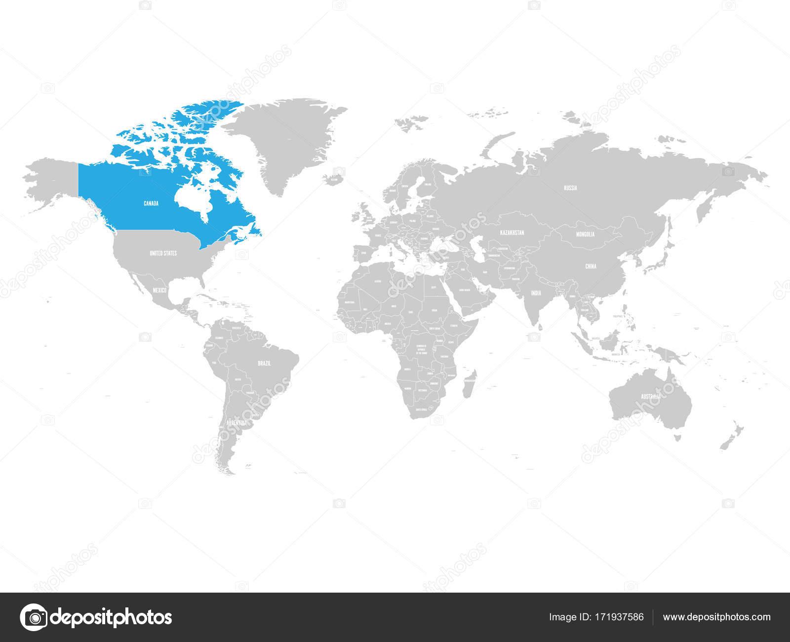 Kanada Von Blau In Grauen Politischen Weltkarte Markiert