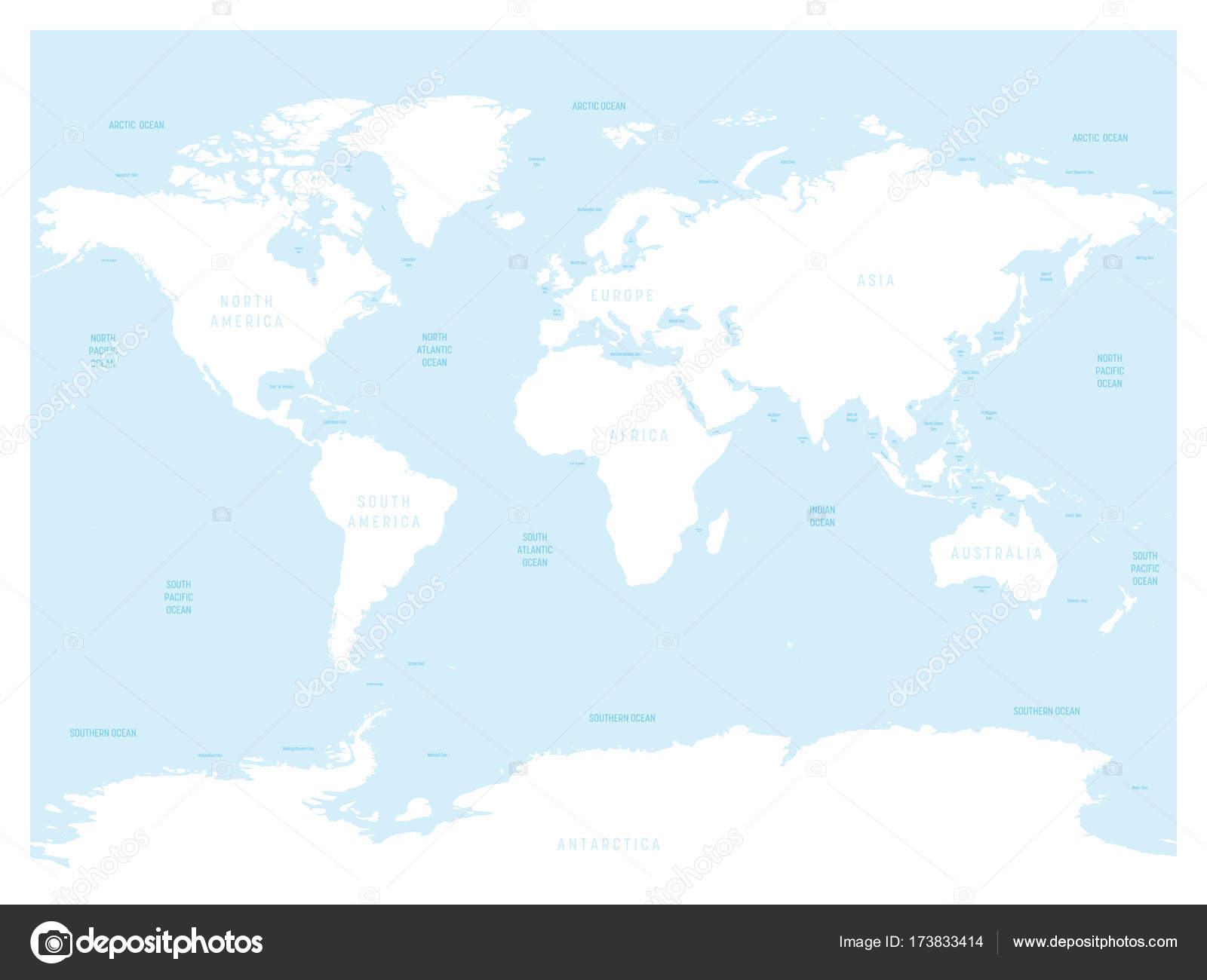 Hydrological Map Of World With Labels Of Oceans Seas Gulfs Bays