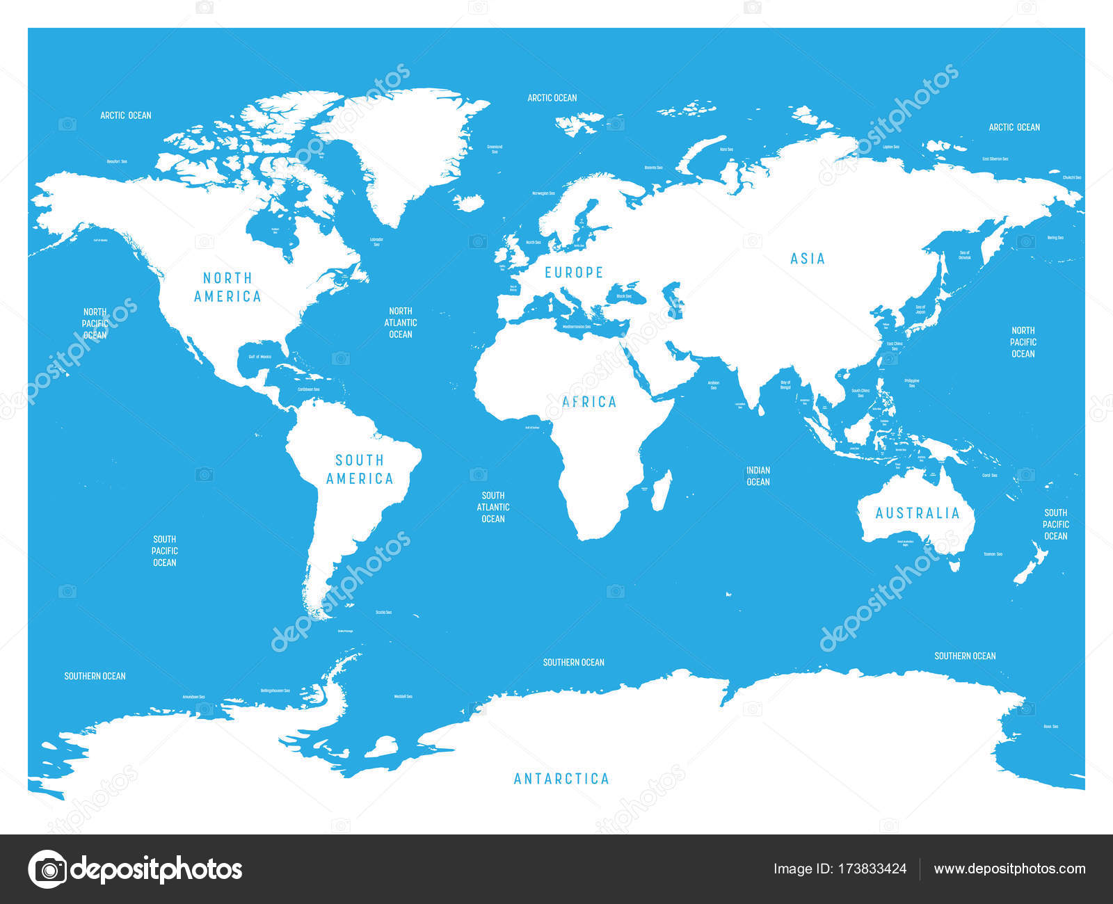 Oceanographical Map Of World With Labels Of Oceans Seas Gulfs - World map showing seas