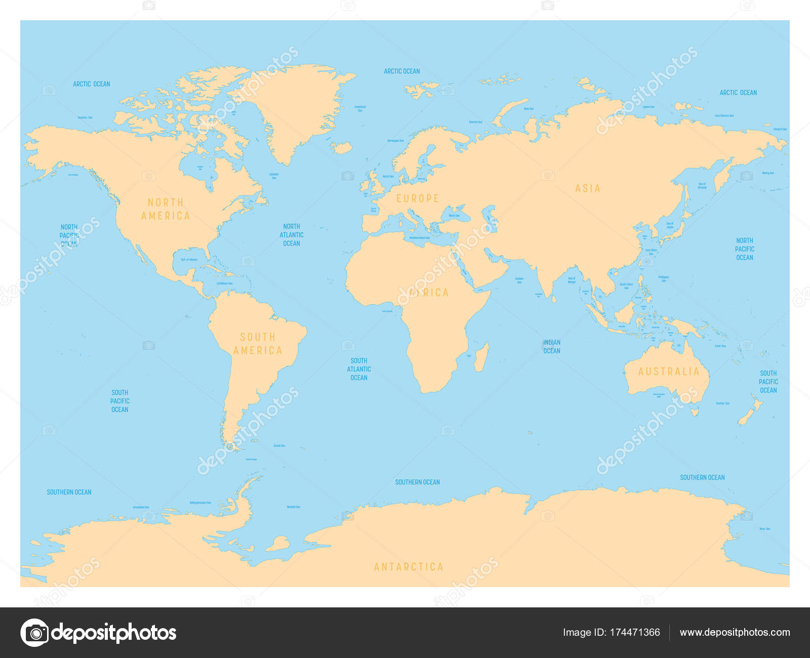 Hydrological map of world with labels of oceans seas gulfs bays hydrological map of world with labels of oceans seas gulfs bays and straits gumiabroncs Image collections