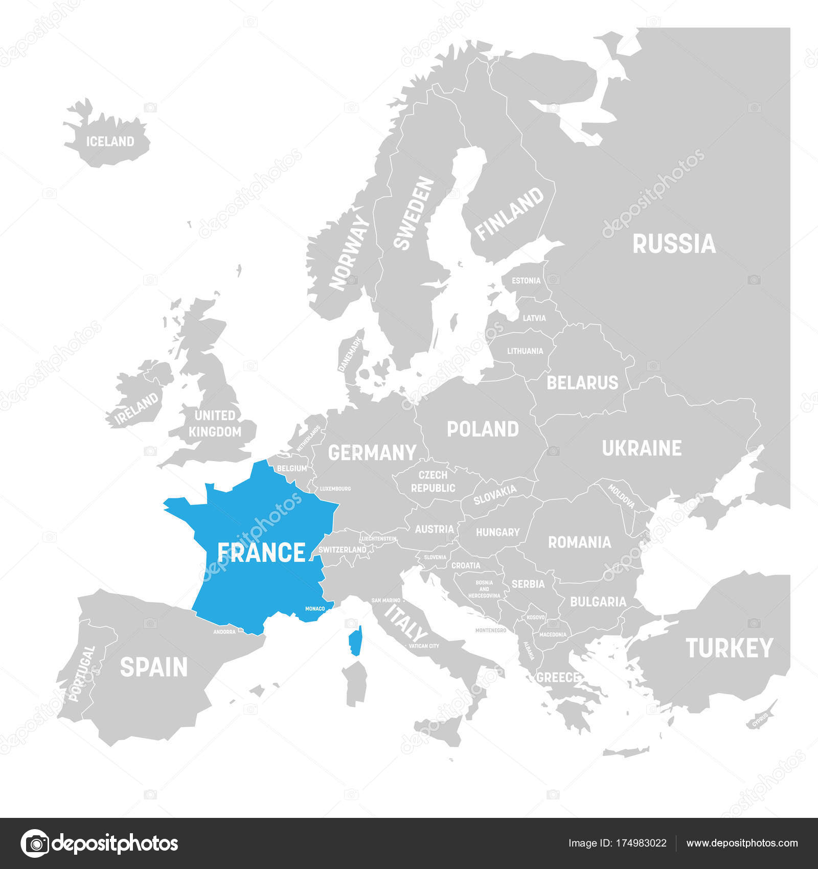France marked by blue in grey political map of europe vector france marked by blue in grey political map of europe vector illustration stock vector gumiabroncs Gallery