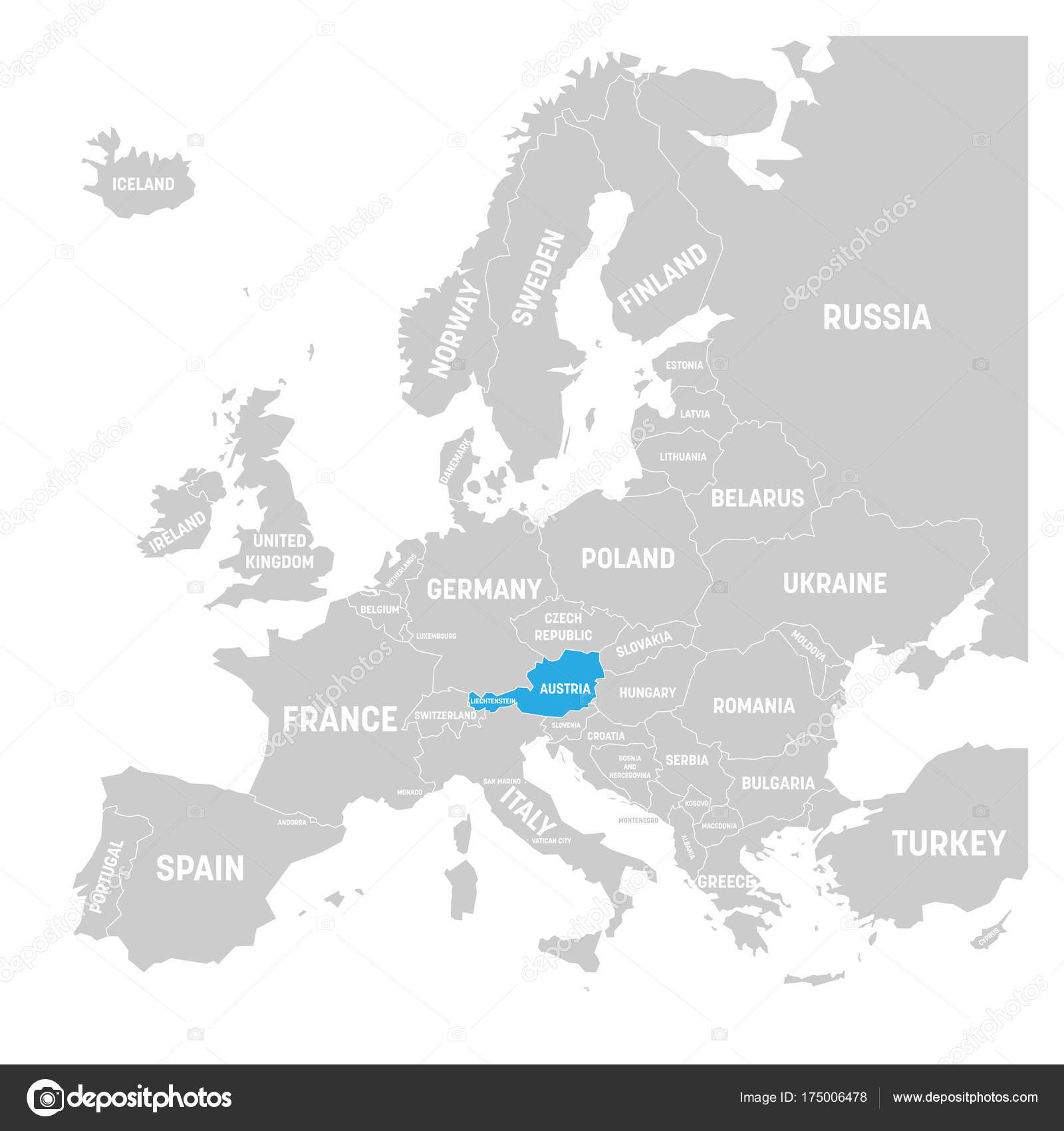 Austria Marked By Blue In Grey Political Map Of Europe. Vector Illustration  U2014 Stock Vector