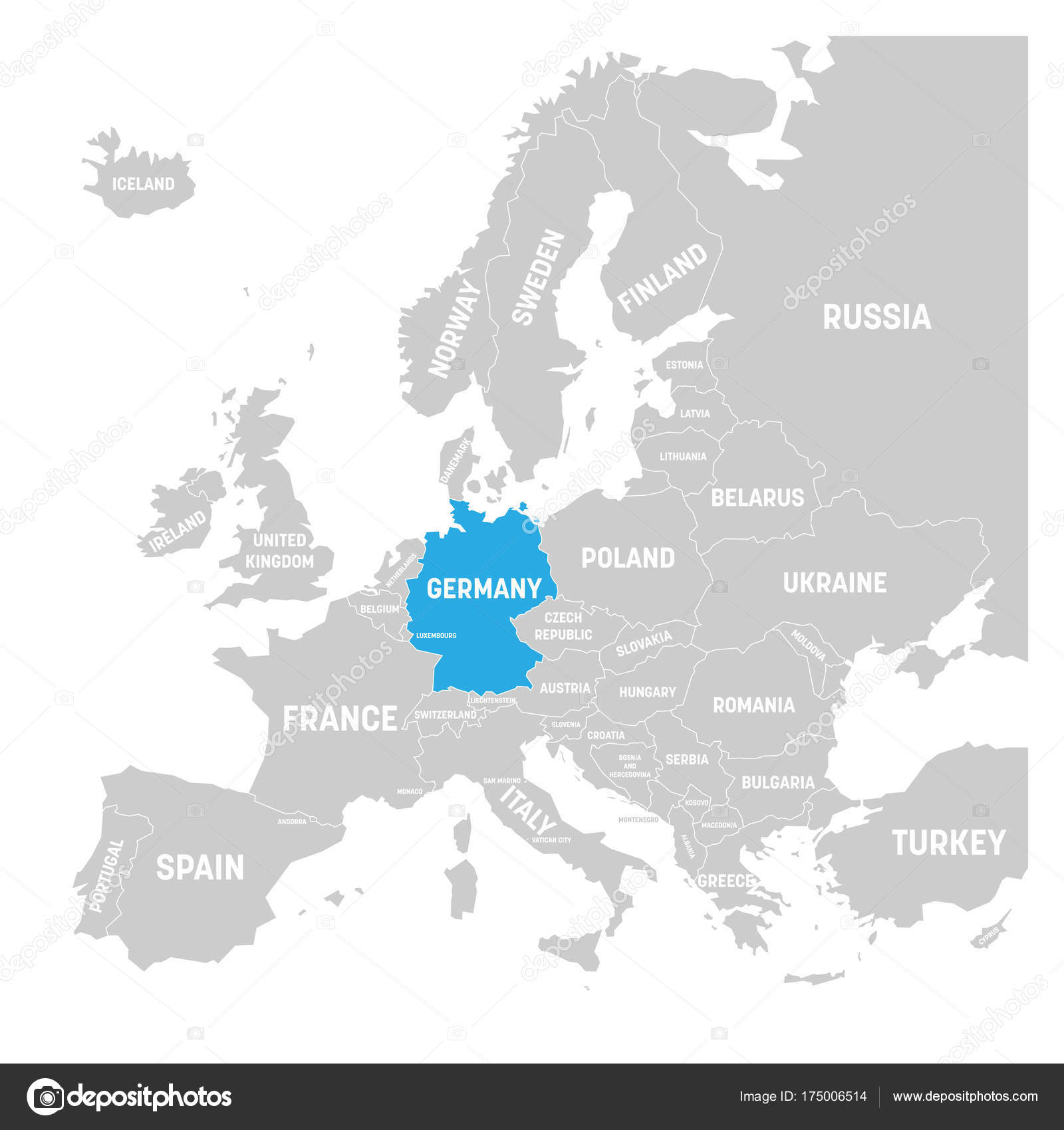 Germany marked by blue in grey political map of europe vector germany marked by blue in grey political map of europe vector illustration stock vector gumiabroncs Images