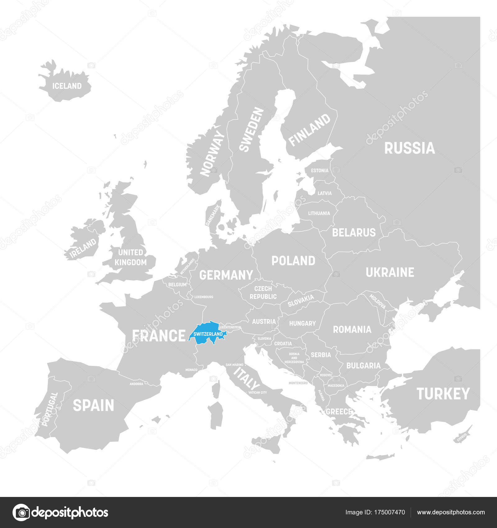 Switzerland marked by blue in grey political map of Europe Vector