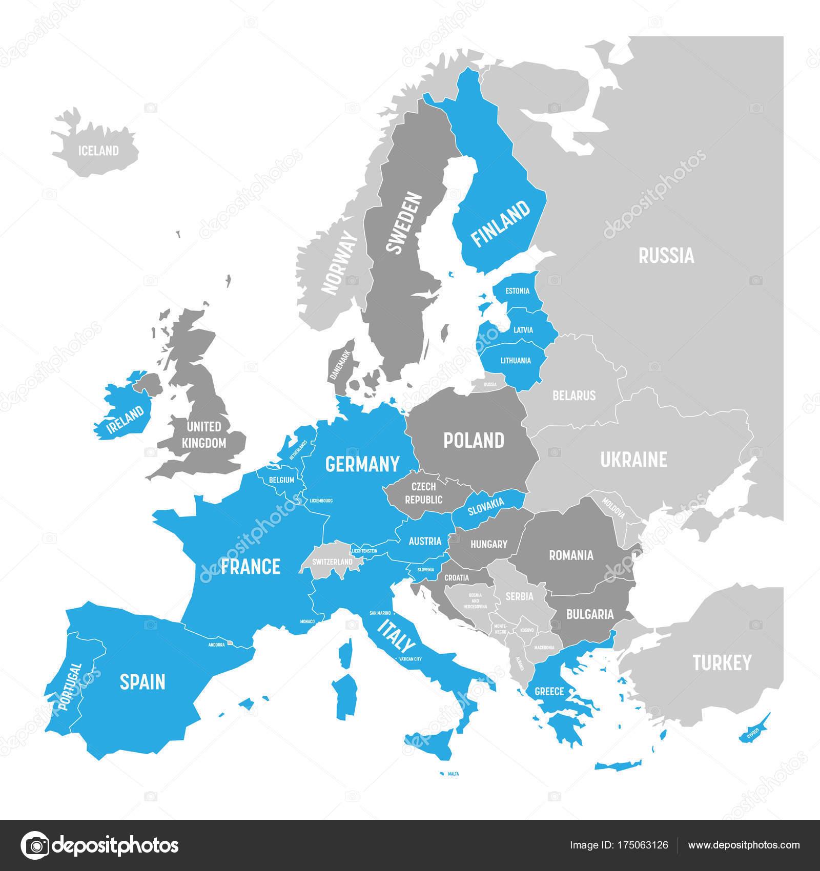 euro länder karte Karte von Euro Zone. Staaten mit Euro Währung. Graue Vektorkarte