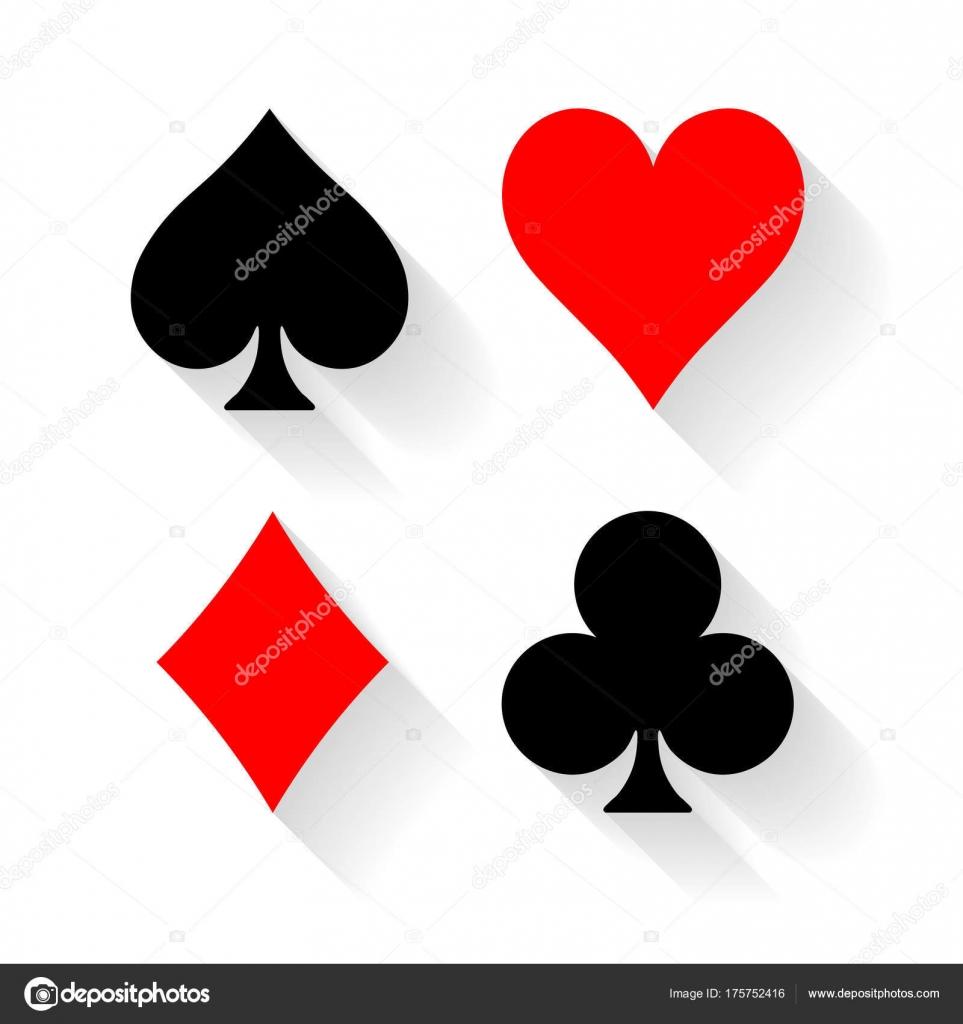 Semi delle carte poker - cuori, fiori, picche e quadri - su priorità ...