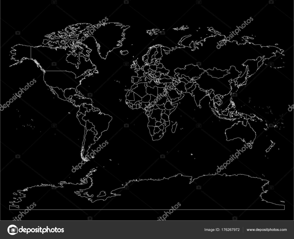 World map with country borders thin white outline on black world map with country borders thin white outline on black background simple high detail gumiabroncs Gallery