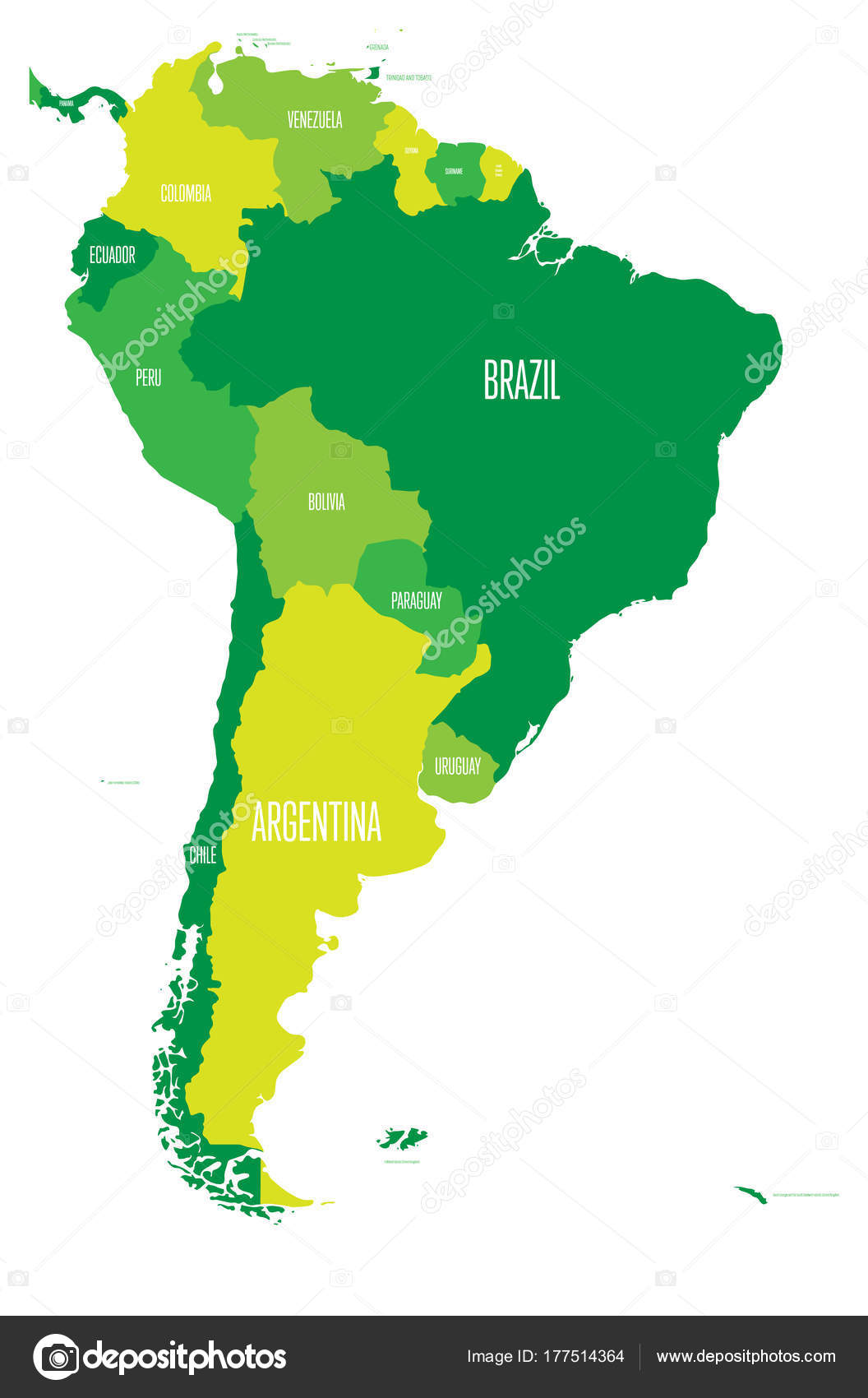 Political map of South America Simple flat vector map with country