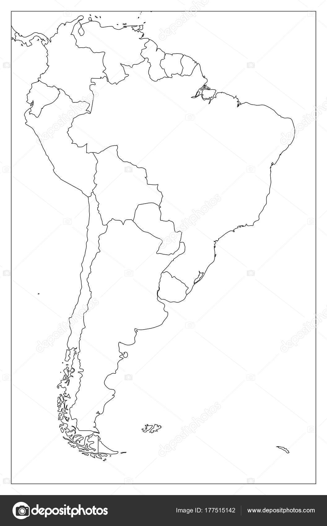 Blank political map of South America. Simple flat vector outline