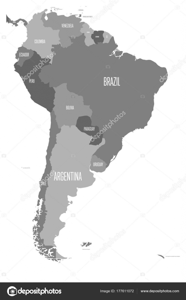 Political map of South America. Simple flat vector map with country ...