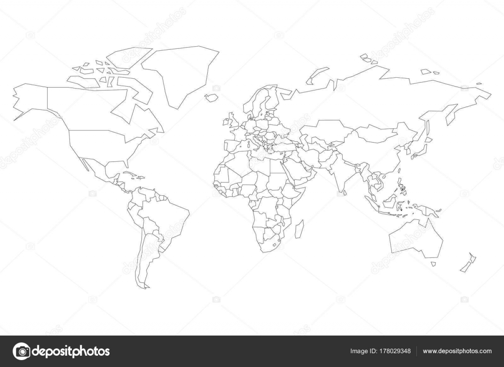 Cartina Del Mondo On Line.Political Map Of World Blank Map For School Quiz Simplified Black Thin Outline On White Background Vector Image By C Pyty Vector Stock 178029348