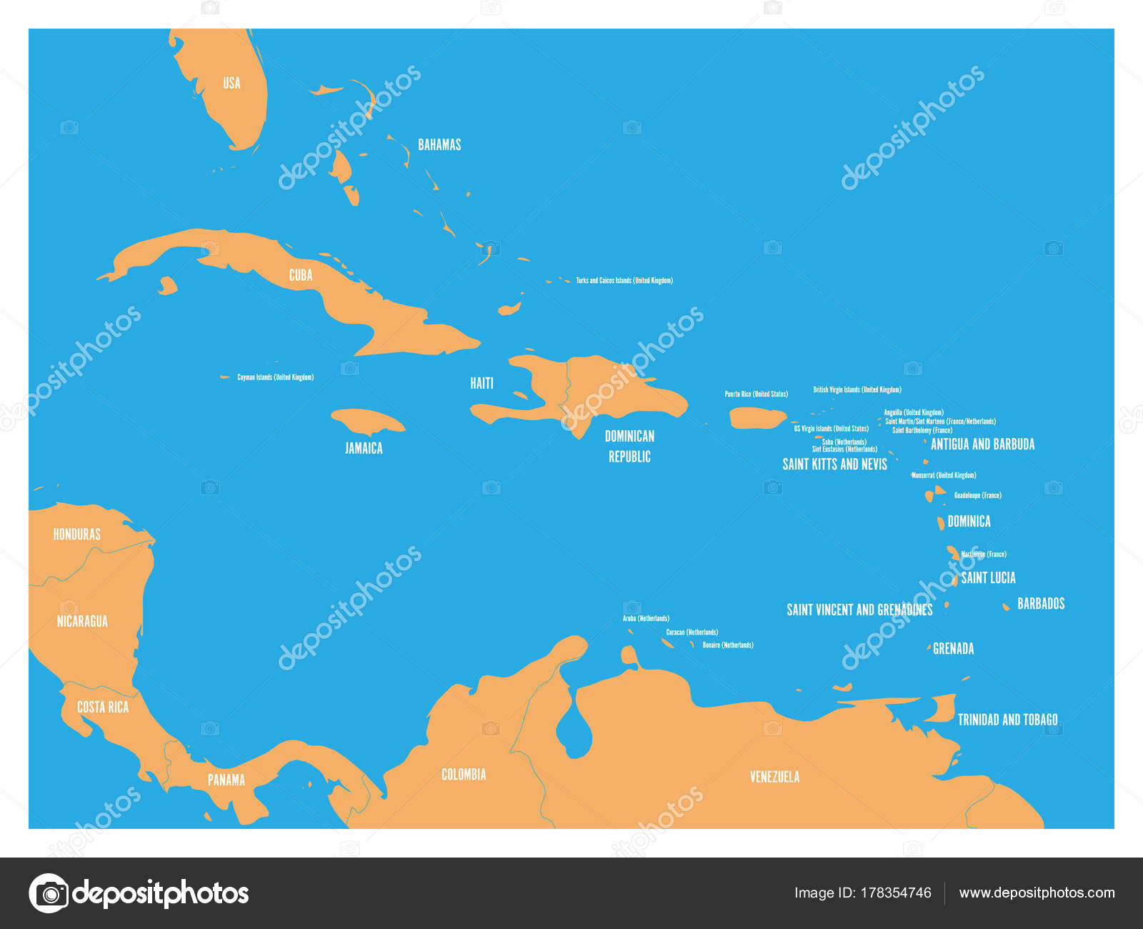 Picture of: Central America And Carribean States Political Map Yellow Land With Black Country Names Labels On Blue Sea Background Simple Flat Vector Illustration Stock Vector C Pyty 178354746