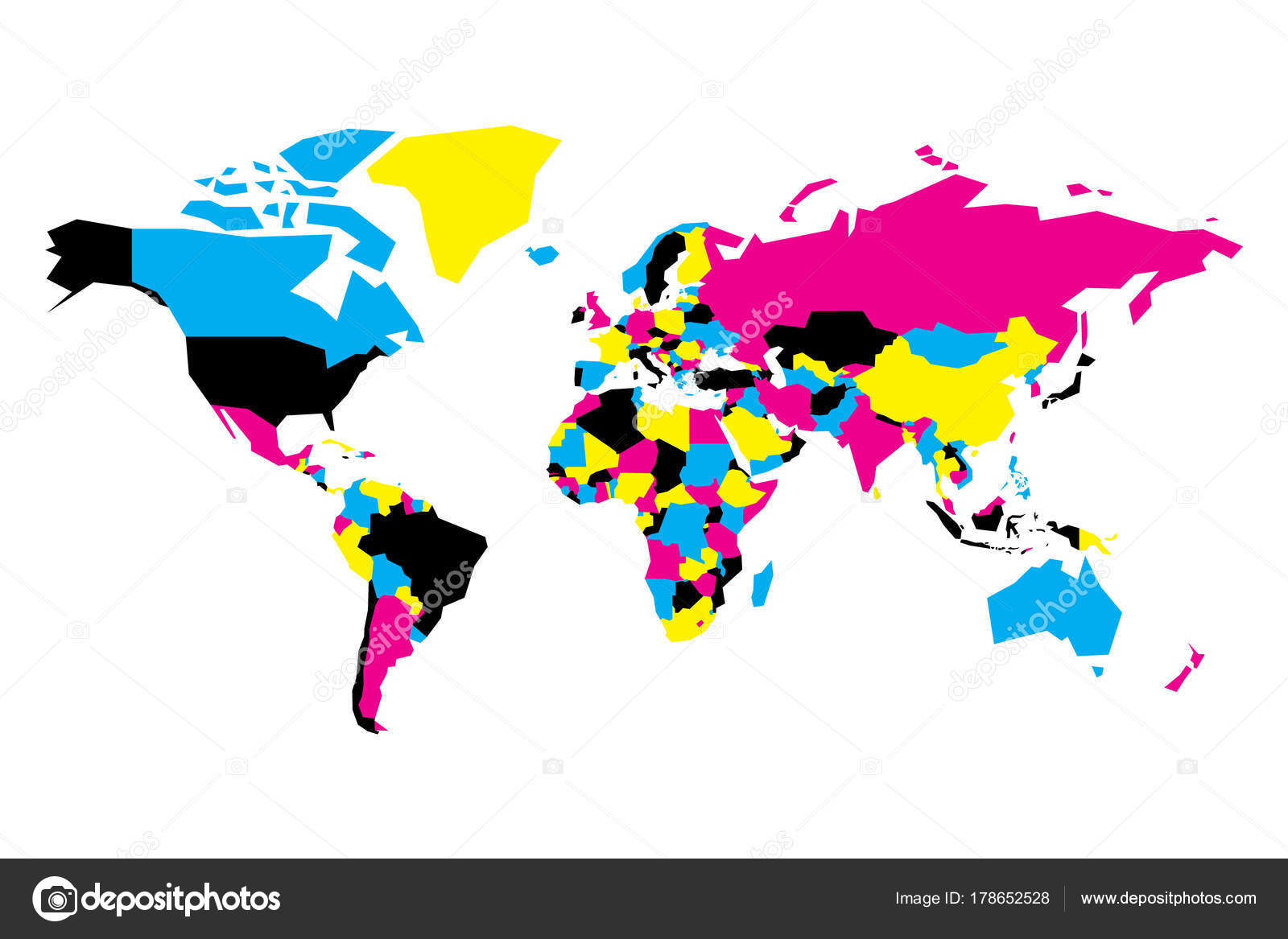 Political map of World. Simplified vector map in CMYK colors — Stock ...