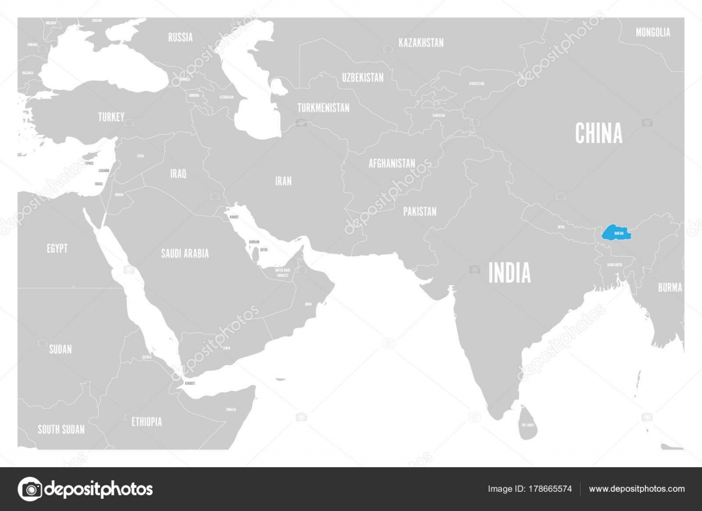 Bhutan Blue Marked In Political Map Of South Asia And Middle East