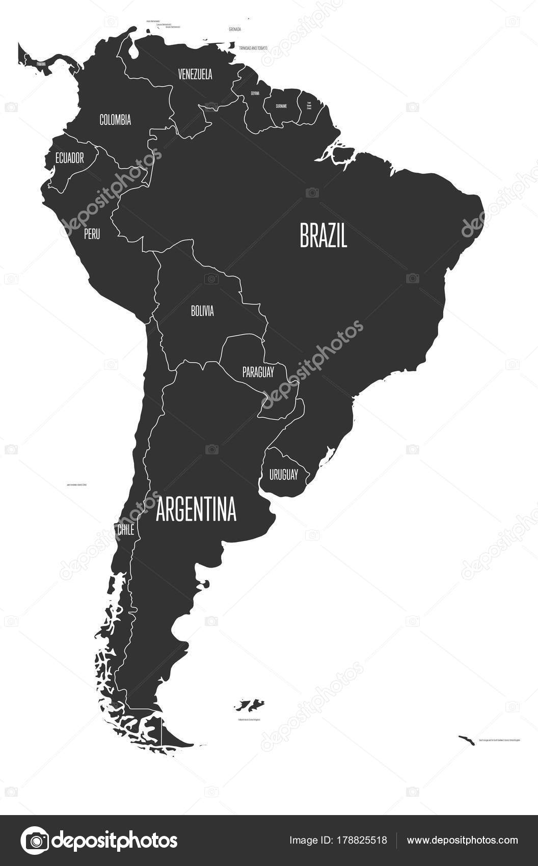 Political map of south america simple flat vector map with country political map of south america simple flat vector map with country name labels in grey gumiabroncs Choice Image