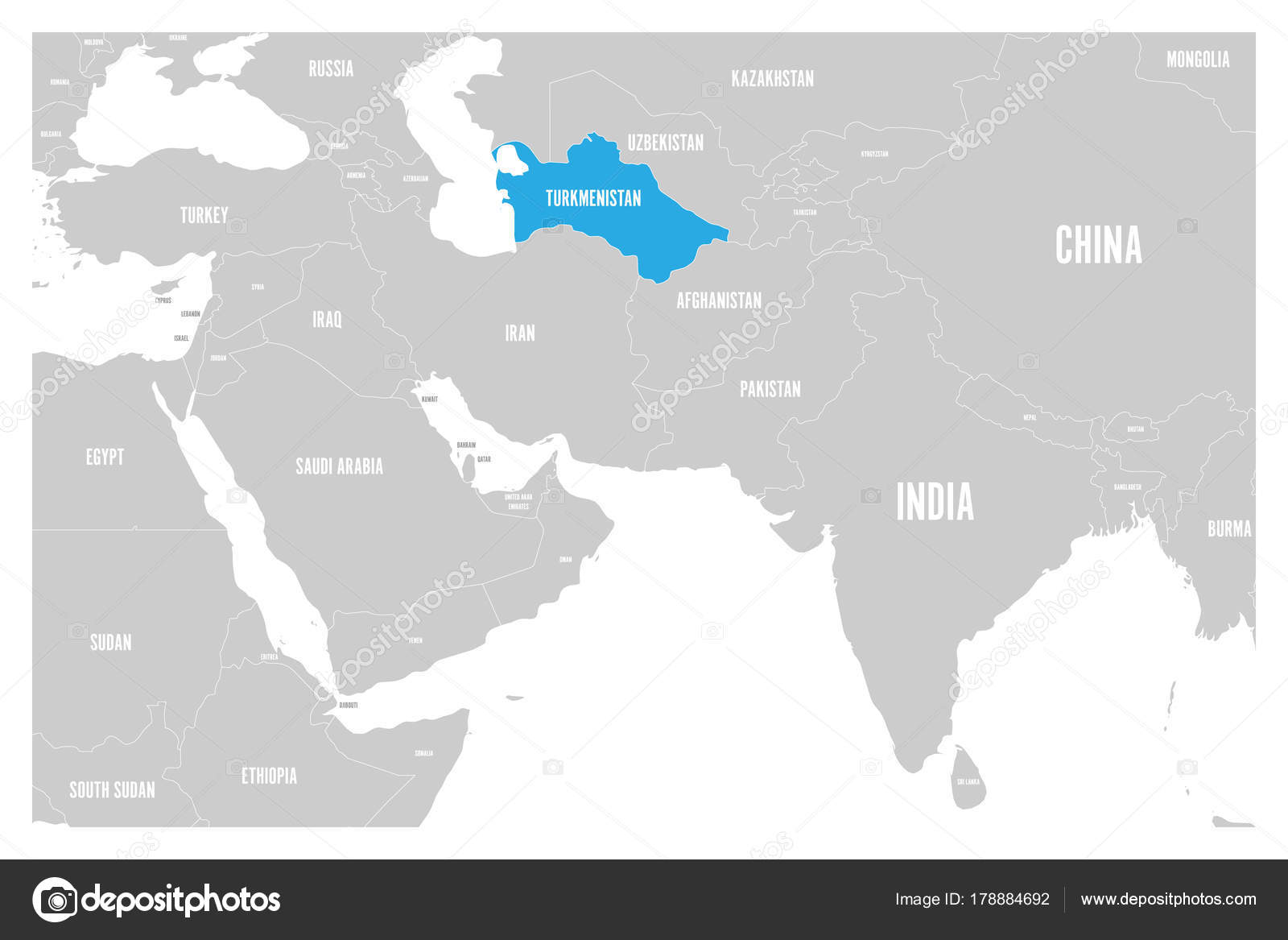 turkmenistan blue marked in political map of south asia and middle east simple flat vector