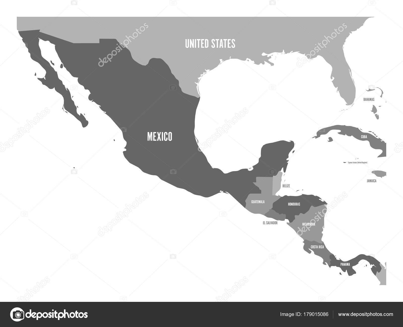Mappa politica dellAmerica centrale e Messico in quattro tonalità ...