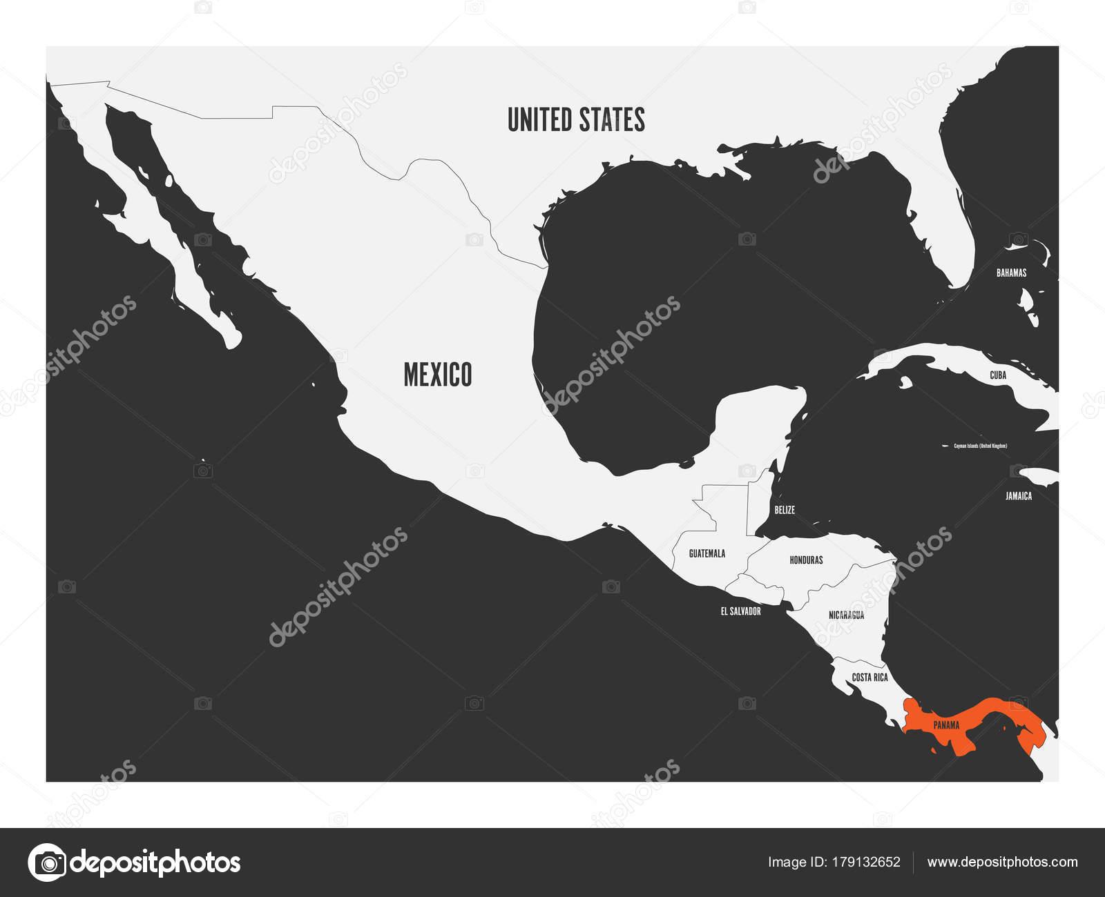 Costa Rica Karte Mittelamerika.Panama Orange Markiert In Politische Karte Von Mittelamerika