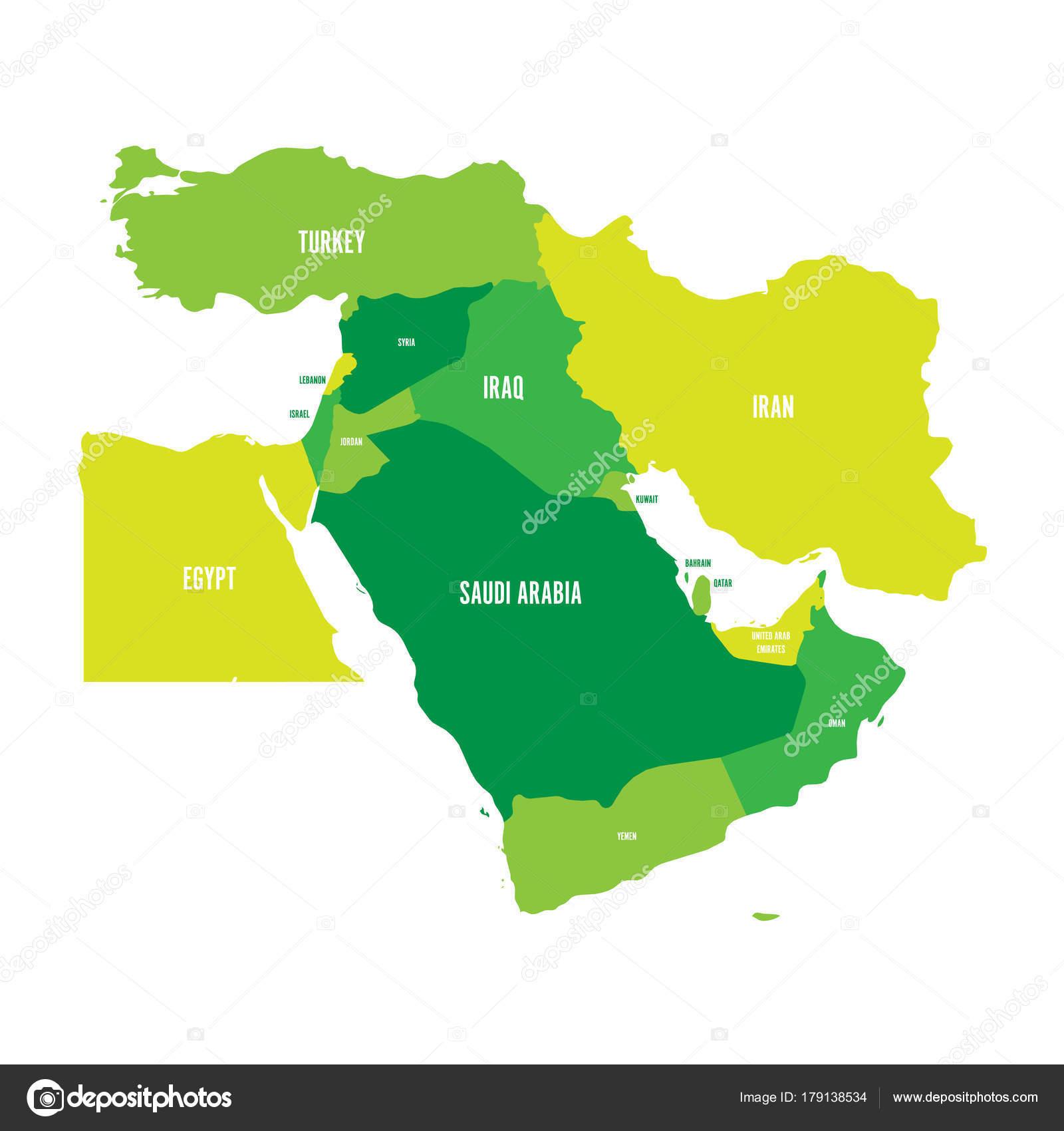 Karte Naher Osten Israel.Karte Von Nahost Oder Nahen Osten In Gruntonen Einfachen