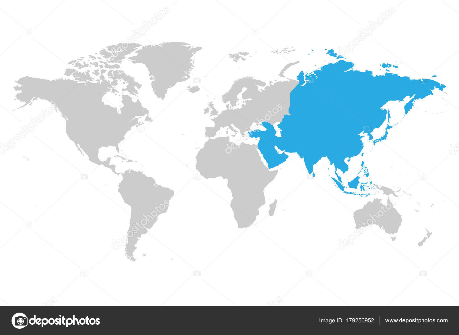 Asia continent blue marked in grey silhouette of world map simple asia continent blue marked in grey silhouette of world map simple flat vector illustration gumiabroncs Image collections