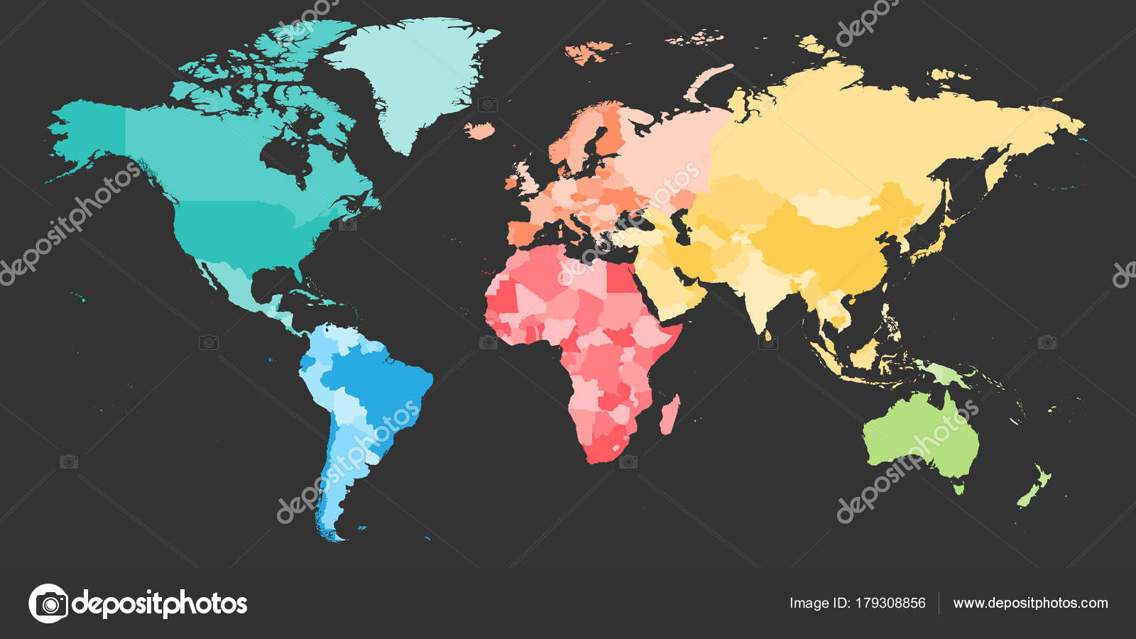 Colorful political map of world divided into six continents blank colorful political map of world divided into six continents blank vector map in rainbow spectrum gumiabroncs Images