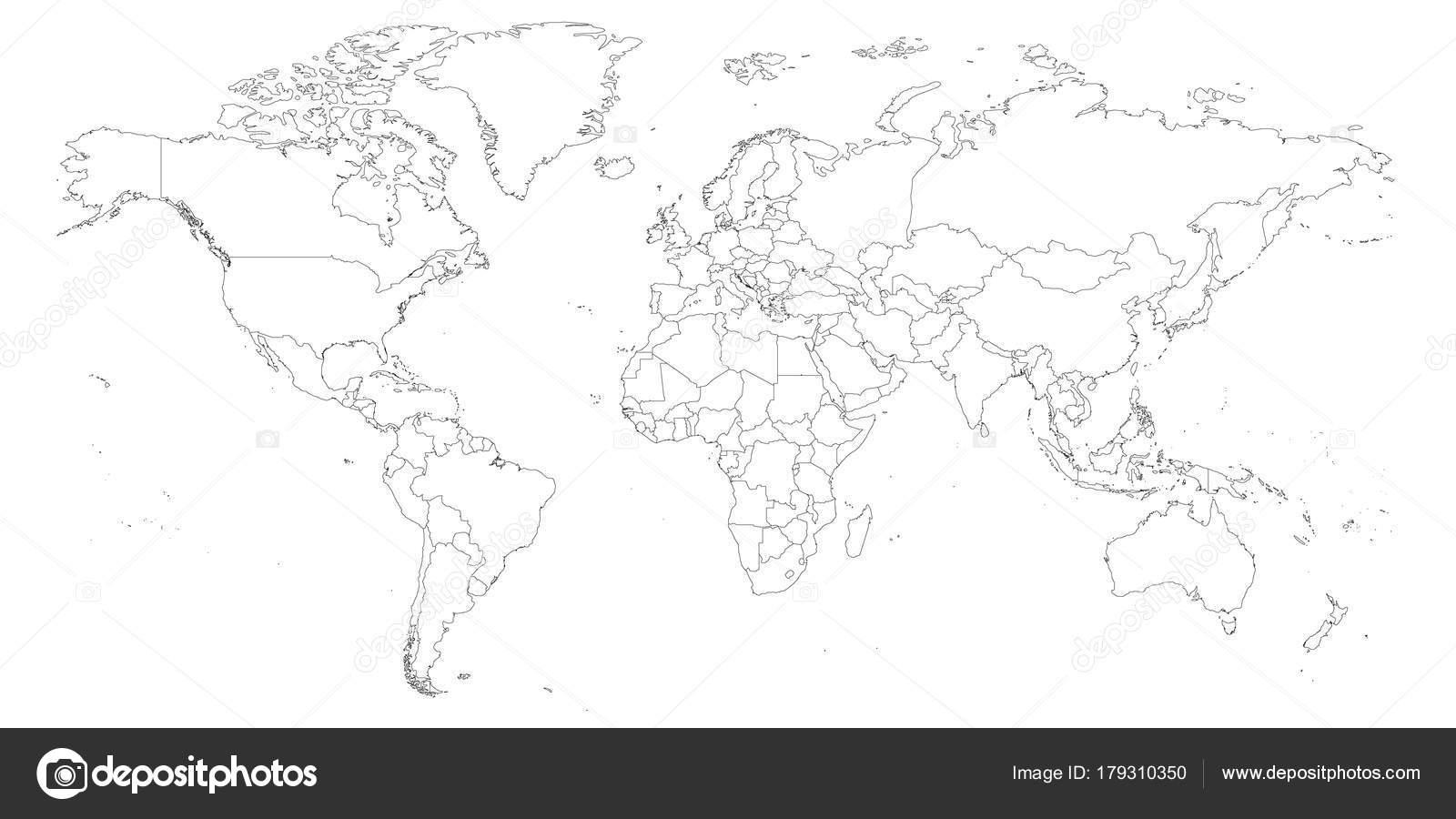 Blank globe map worksheet | Blank outline map of World ...