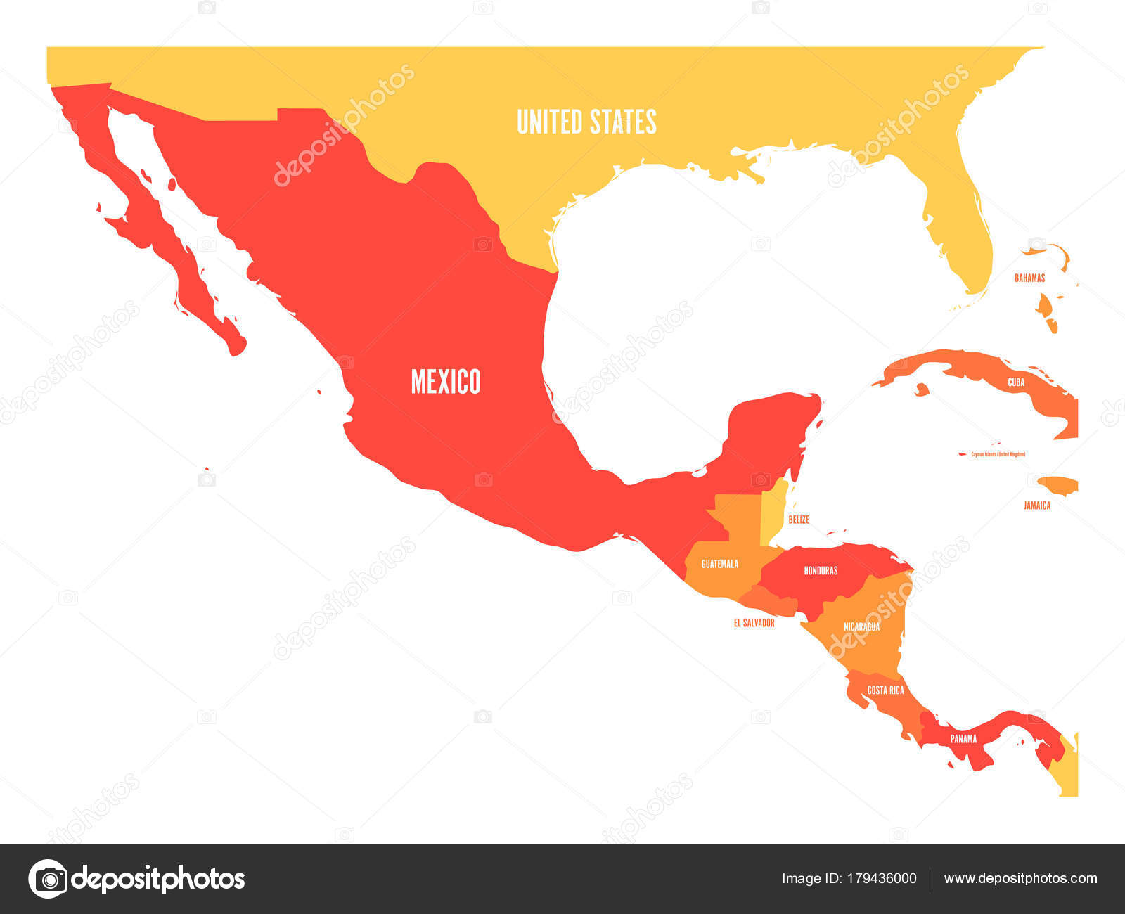 Political map of Central America and Mexico in four shades of orange ...