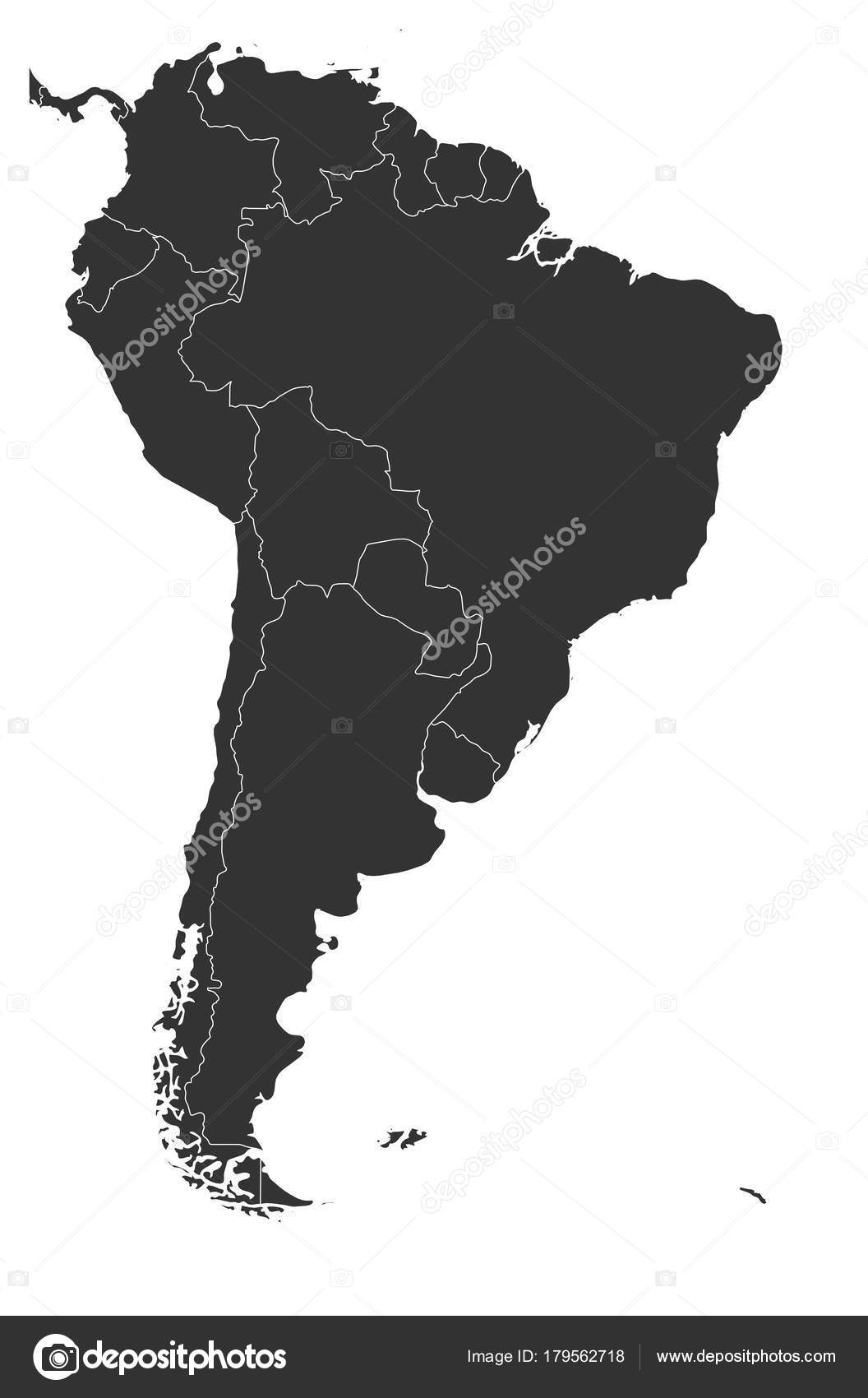 Blank Political Map Of South America Simple Flat Vector Map In Grey