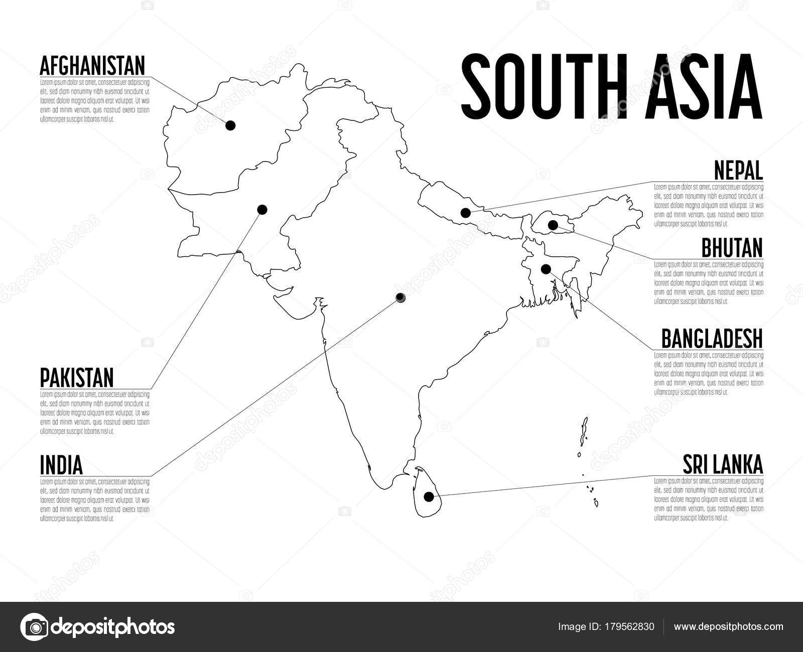 Map Of Modern Asia.Infographic Map Of South Asia Modern Template With Text In Black