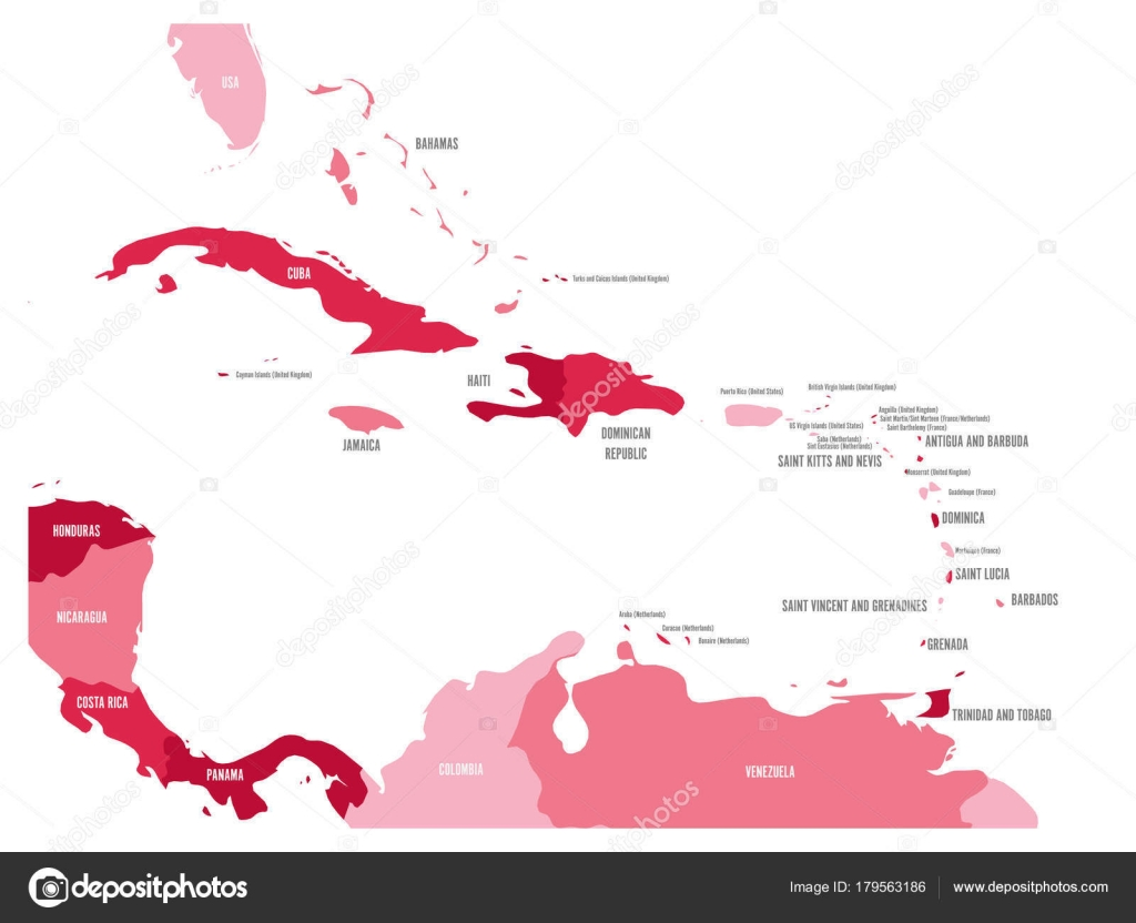 Image of: Central America And Caribbean States Political Map In Four Shades Of Maroon With Black Country Names Labels Simple Flat Vector Illustration Stock Vector C Pyty 179563186